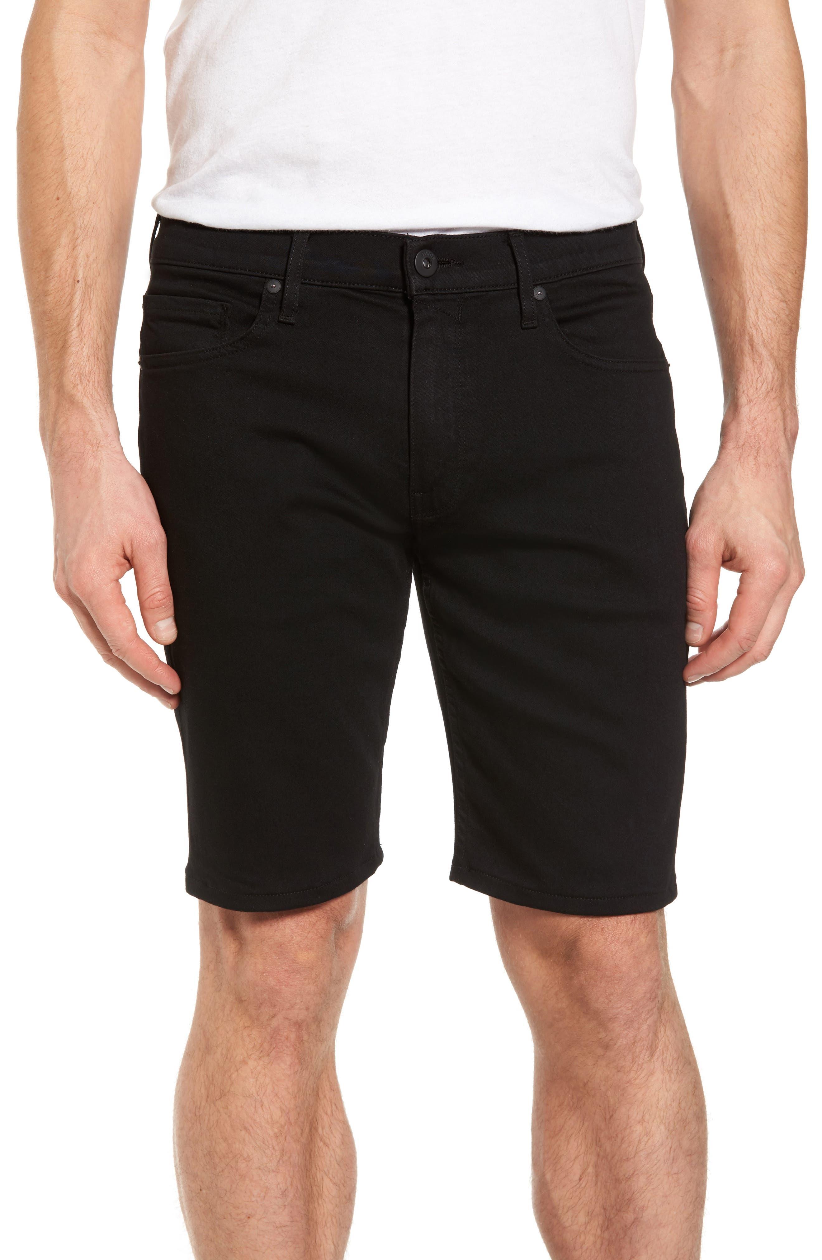PAIGE Transcend - Federal Slim Straight Leg Denim Shorts (Black Shadow)