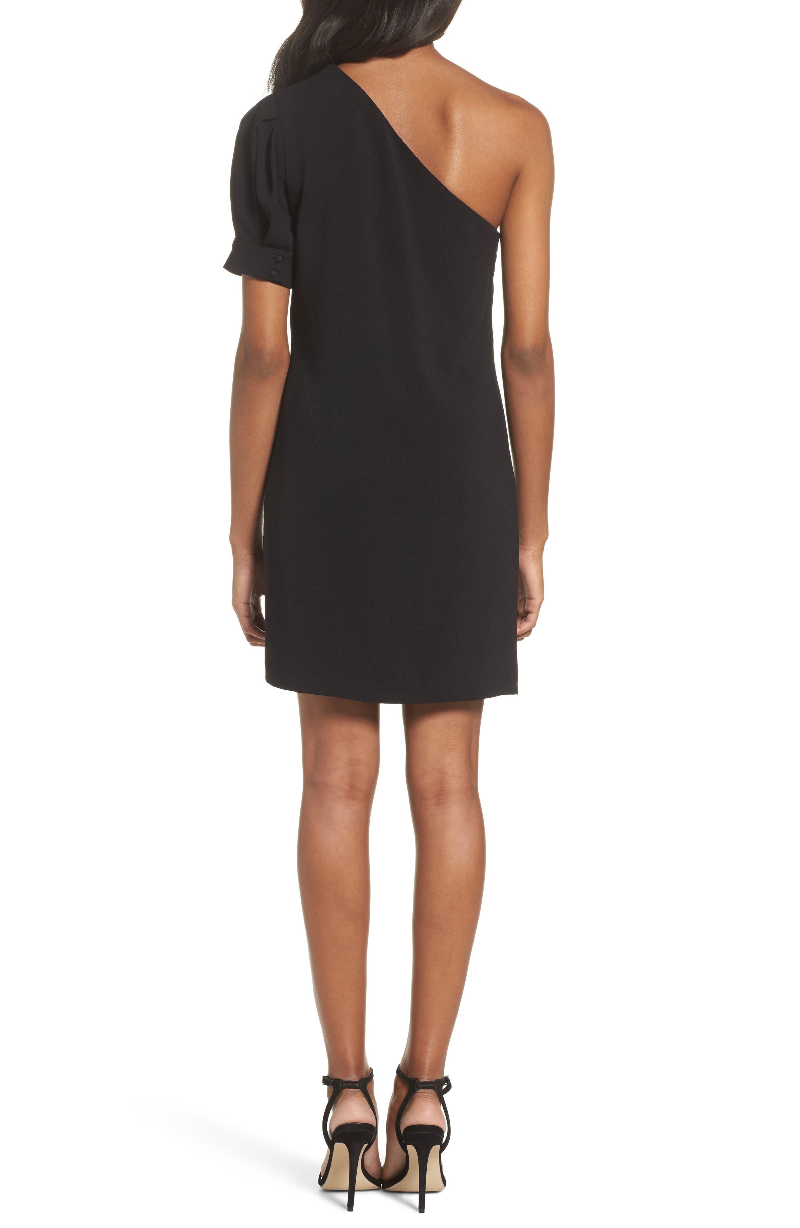 One-Shoulder Shift Dress,                             Alternate thumbnail 2, color,                             Black
