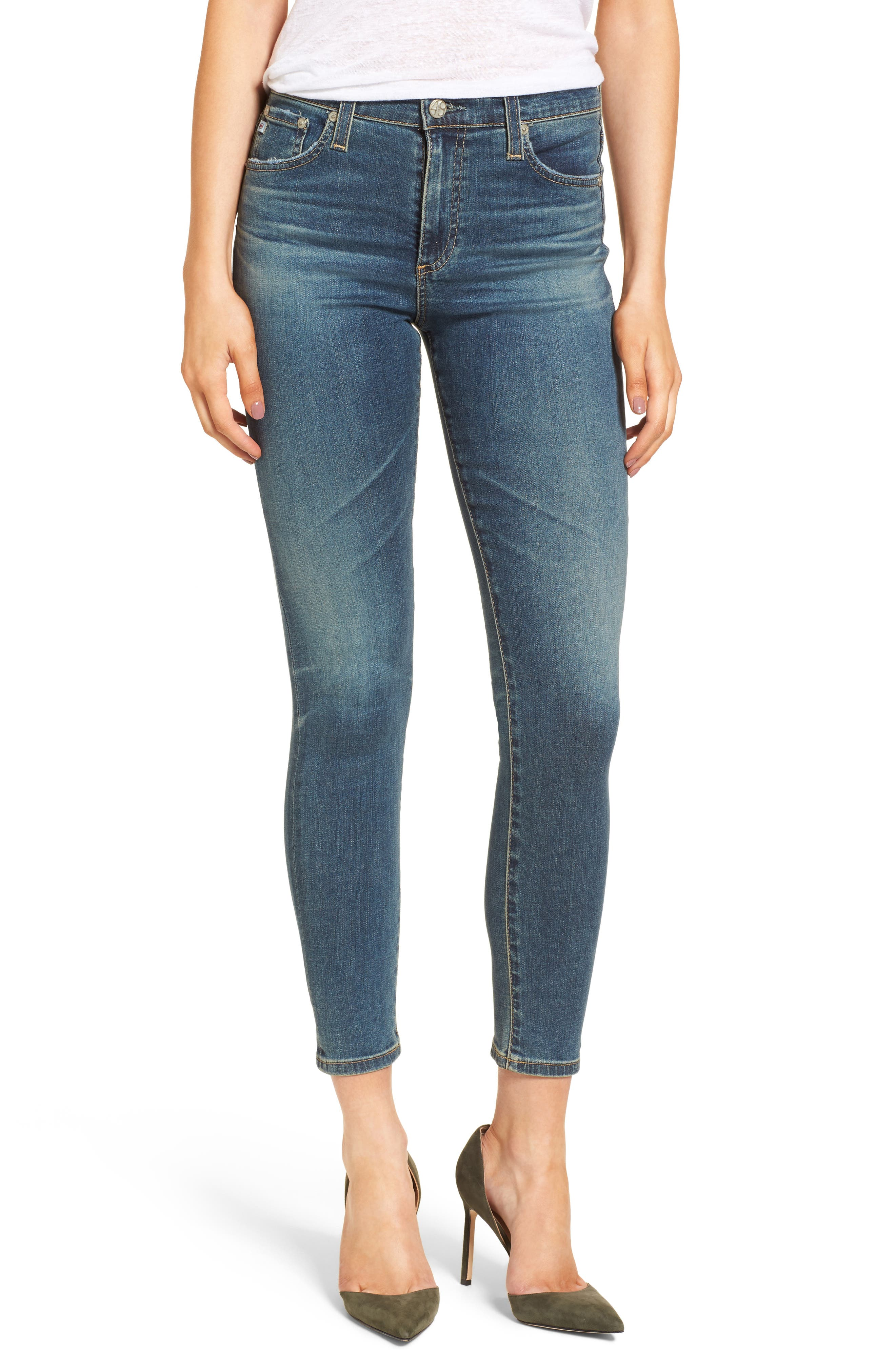 Alternate Image 1 Selected - AG The Farrah High Waist Ankle Skinny Jeans (10 Years Brewed)