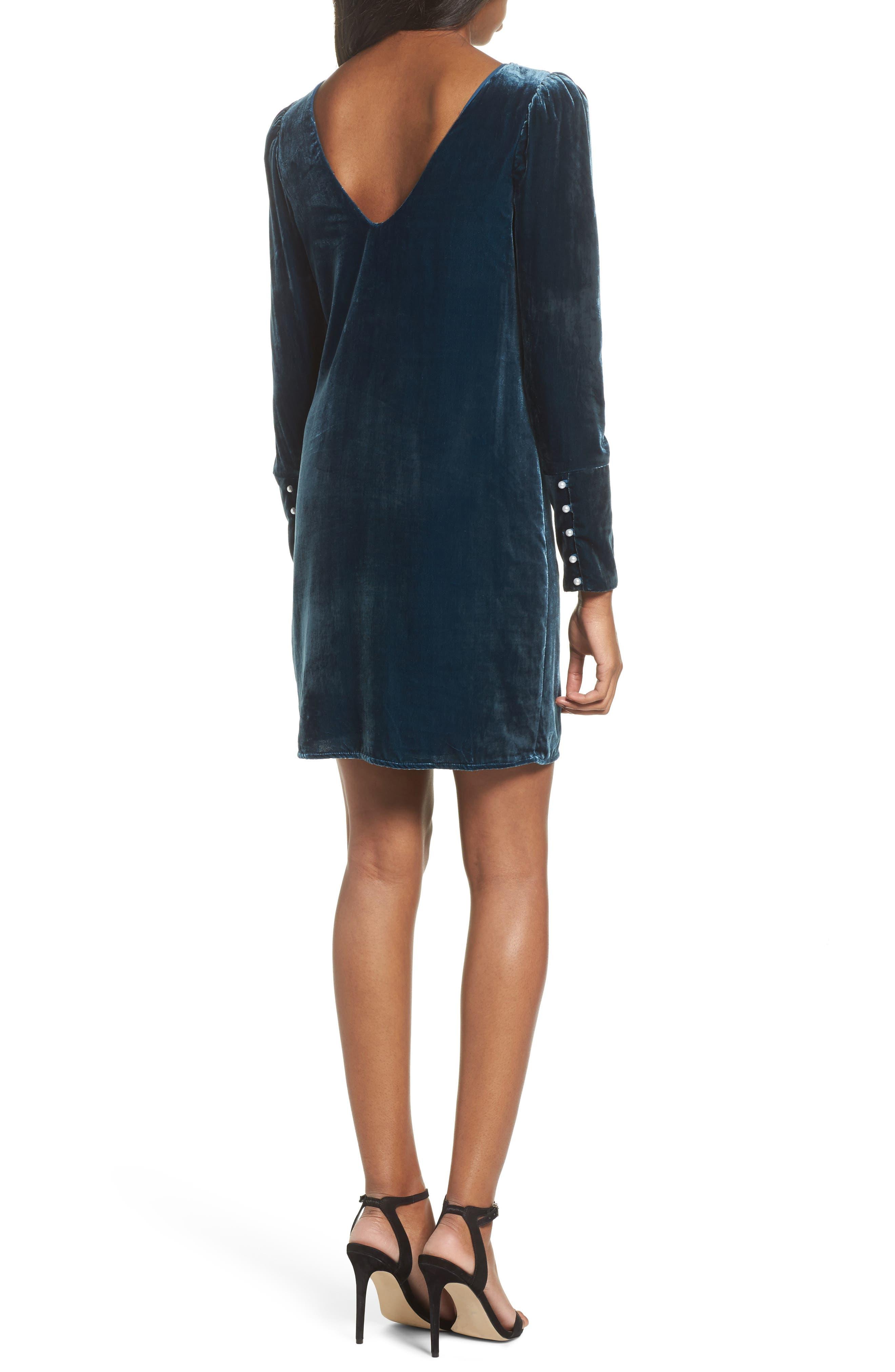 Velvet Sheath Dress,                             Alternate thumbnail 2, color,                             Deep Teal