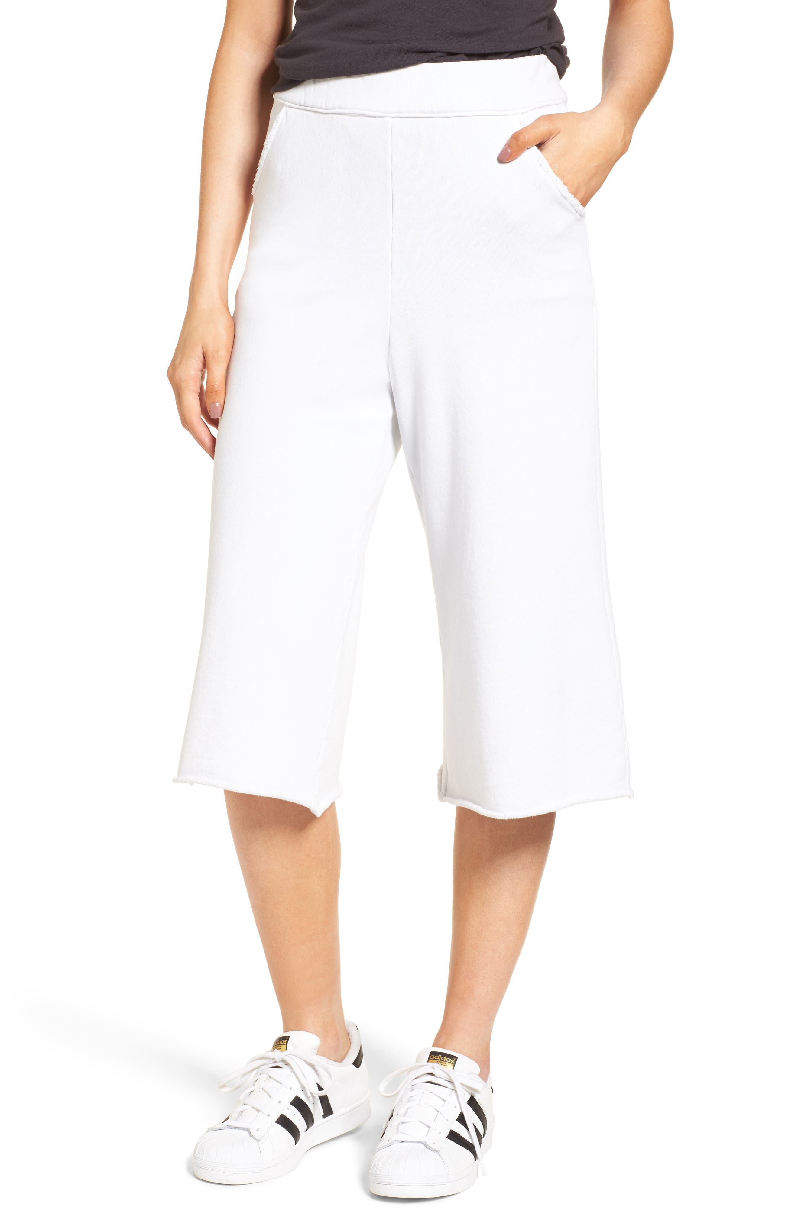 Knit Gauchos,                         Main,                         color, Dirty White