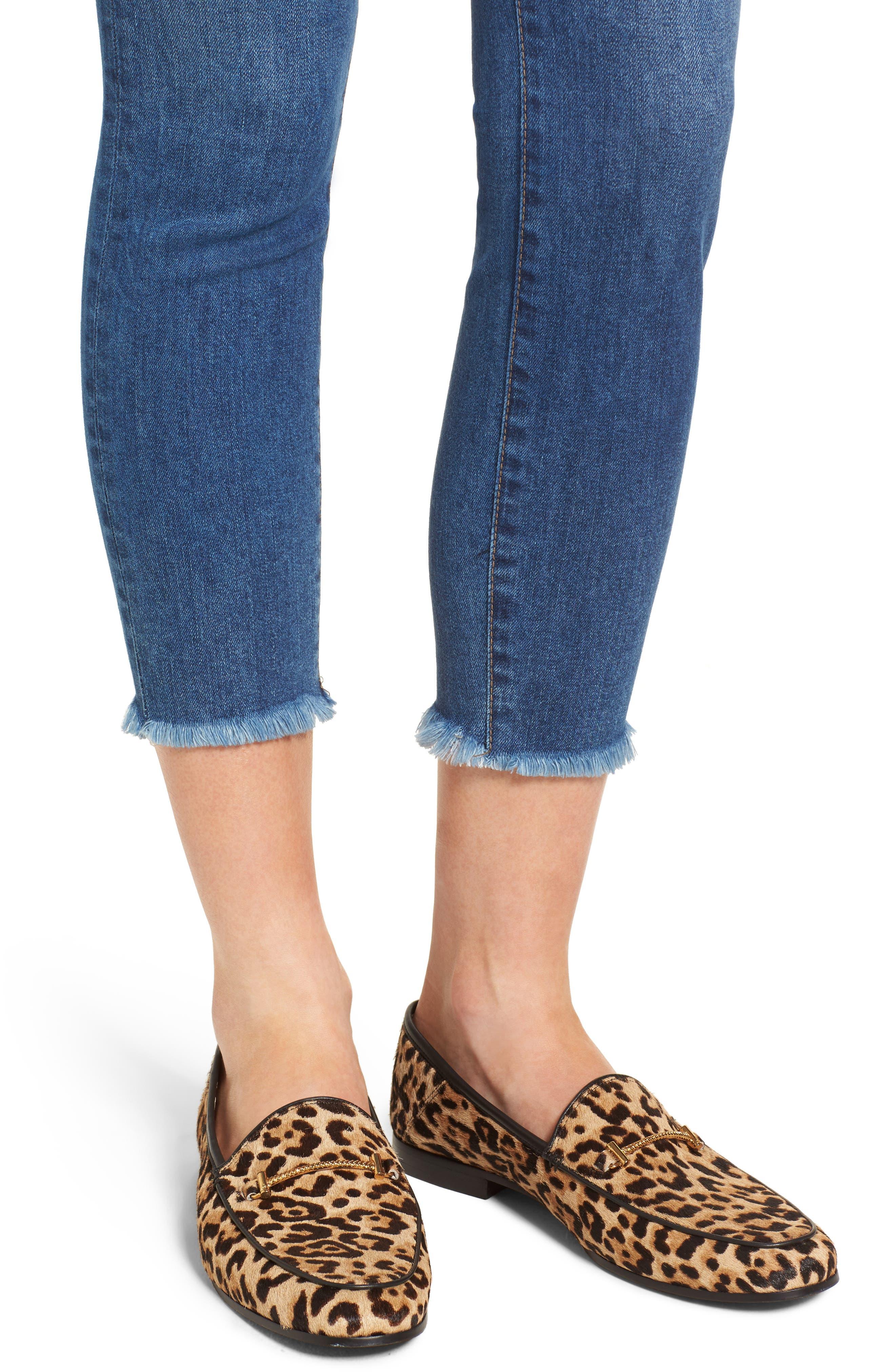 Bombshell Raw Hem Stretch Skinny Jeans,                             Alternate thumbnail 4, color,                             Dawn