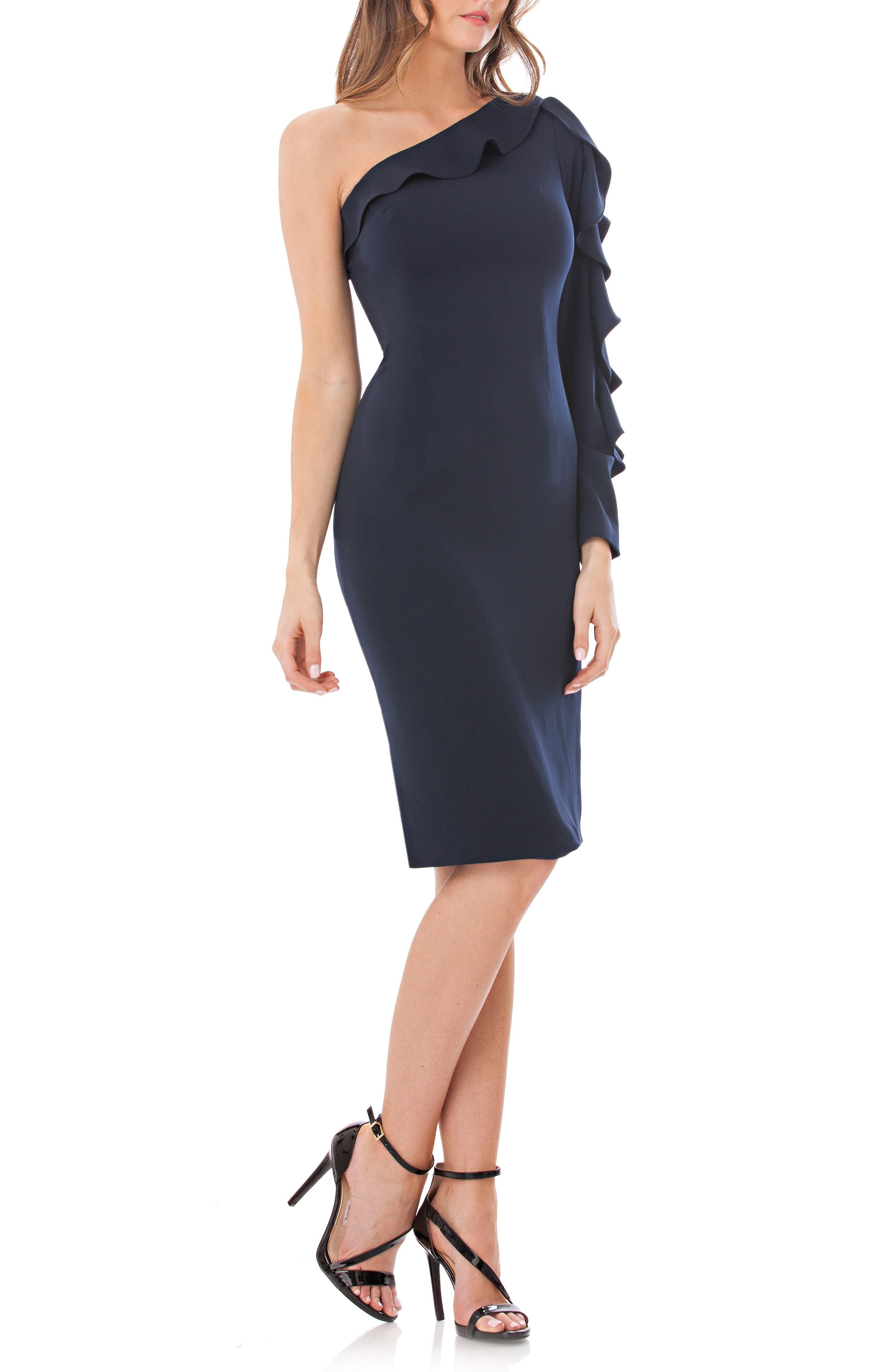 Carmen Marc Valvo Infusion One-Shoulder Sheath Dress