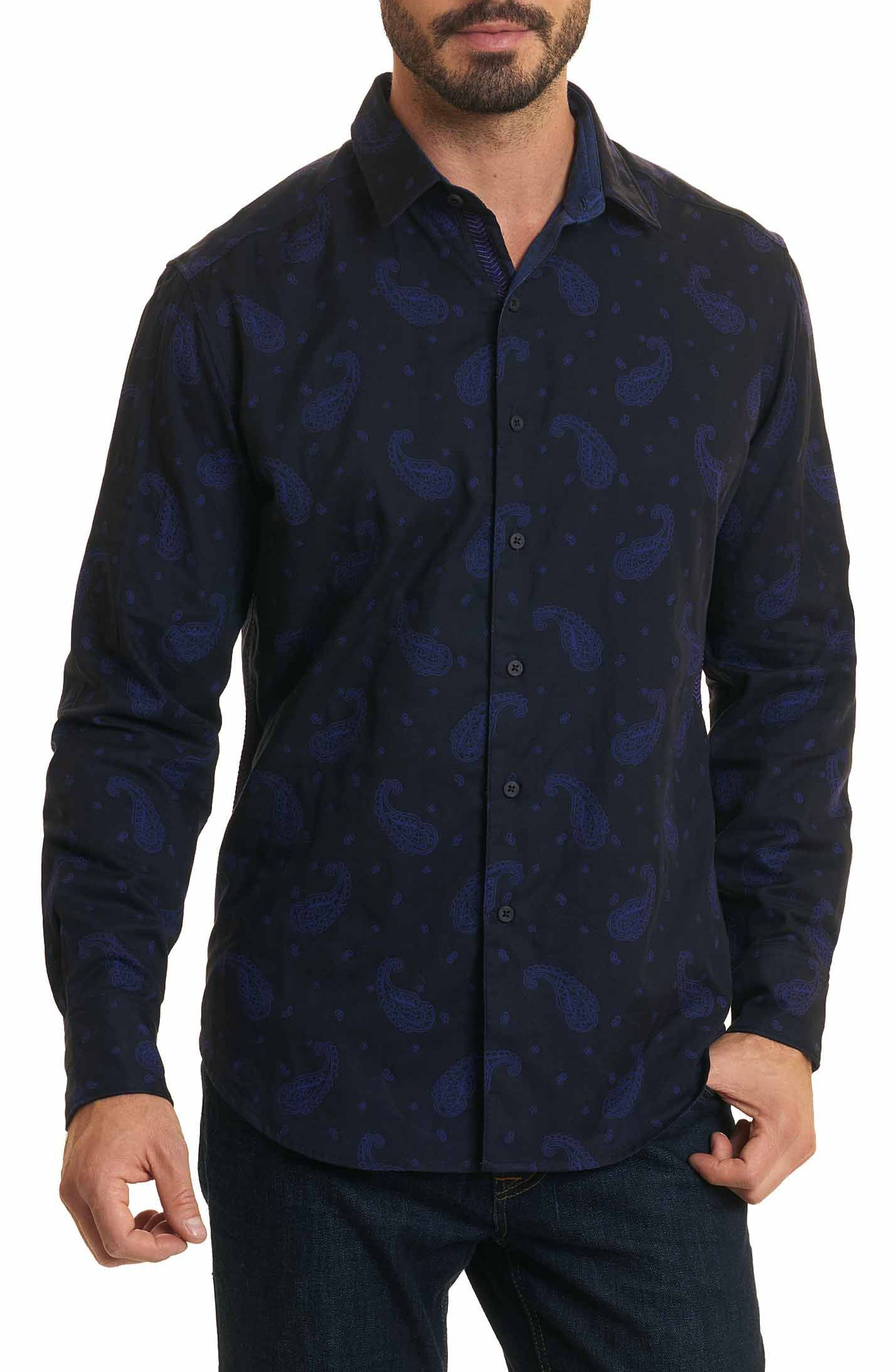 Scatter Paisley Classic Fit Sport Shirt,                         Main,                         color, Black