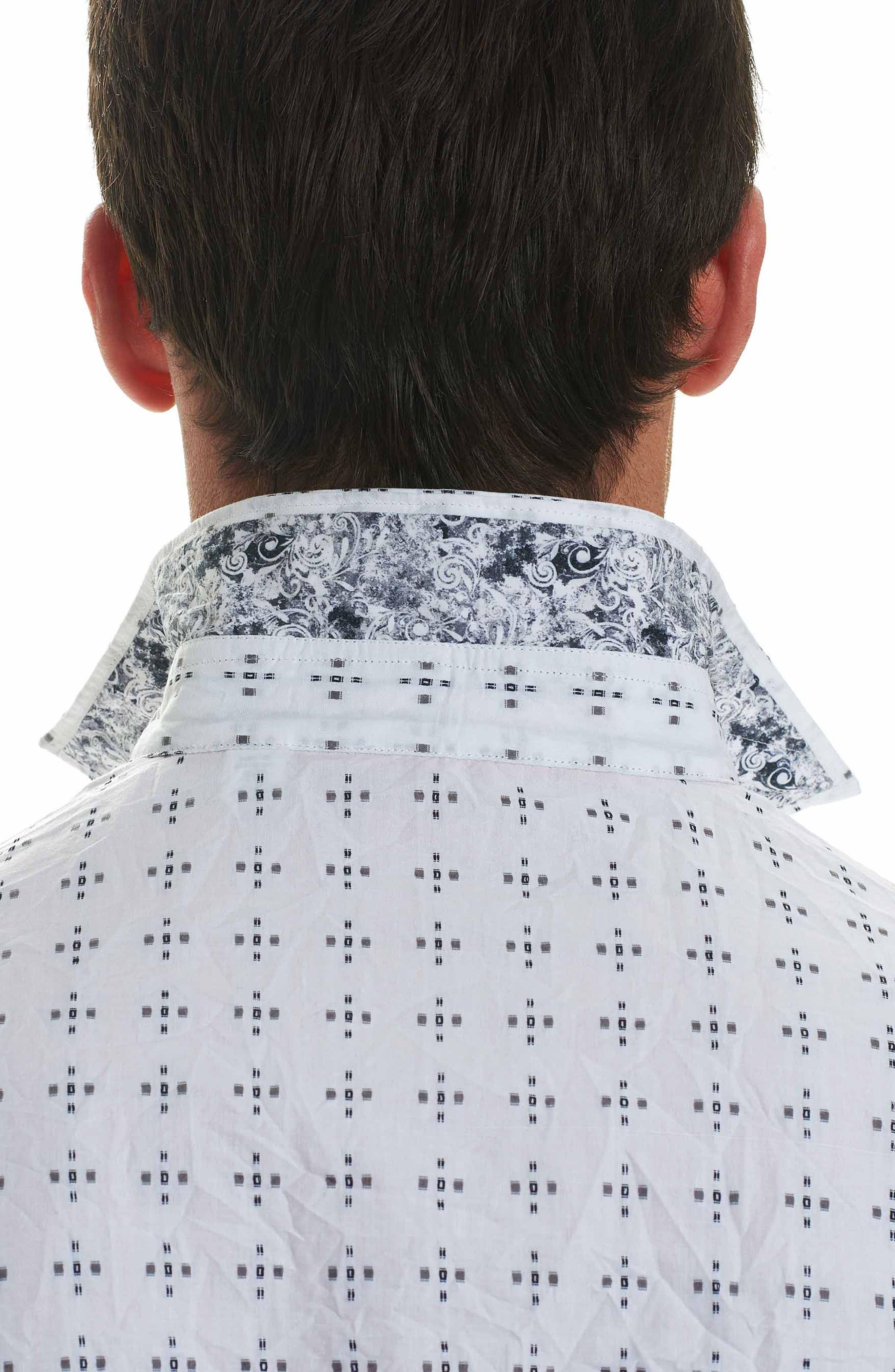 Steger Classic Fit Print Sport Shirt,                             Alternate thumbnail 3, color,                             White