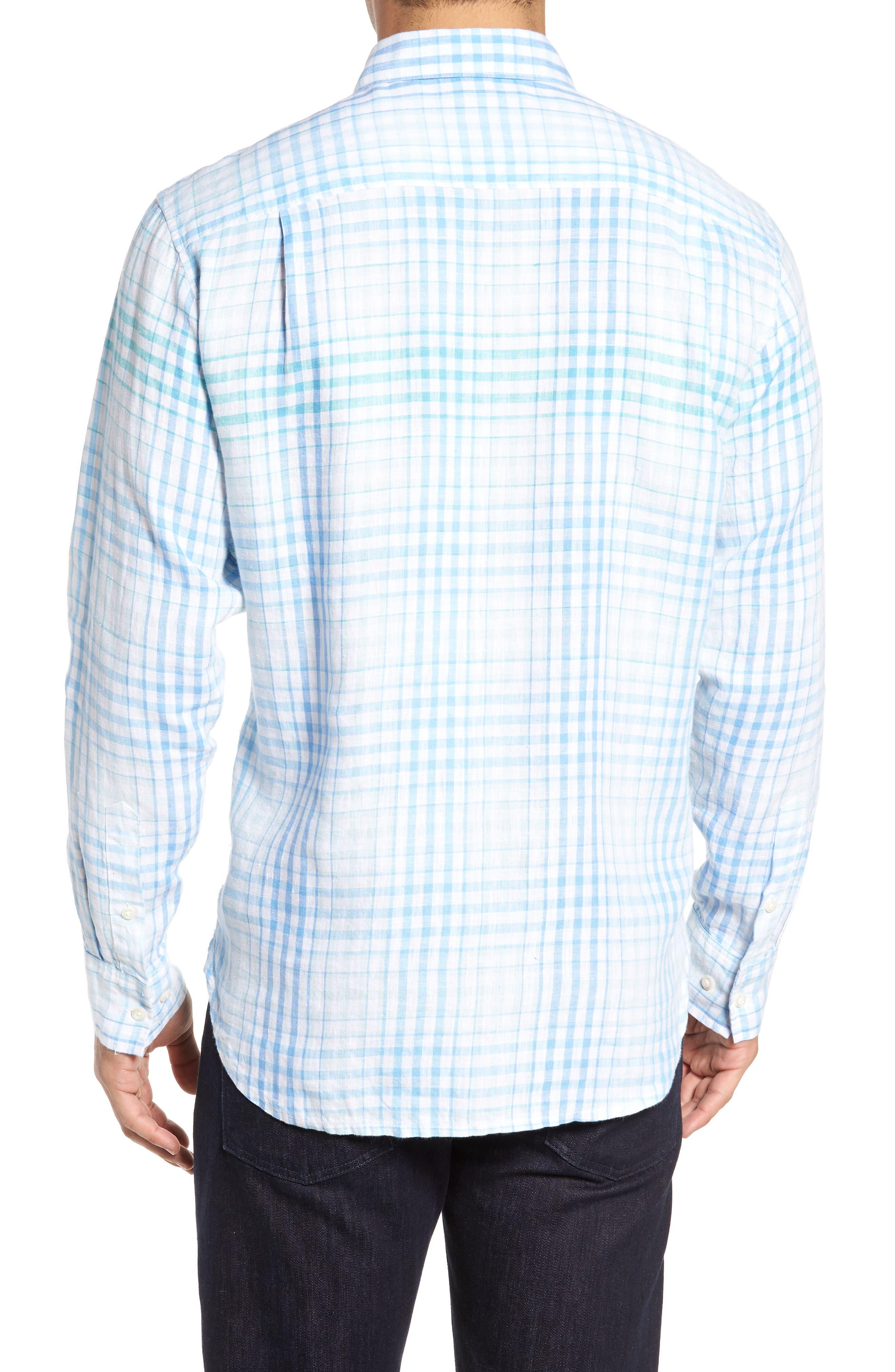 Malahina Plaid Linen Sport Shirt,                             Alternate thumbnail 2, color,                             Blue Canal