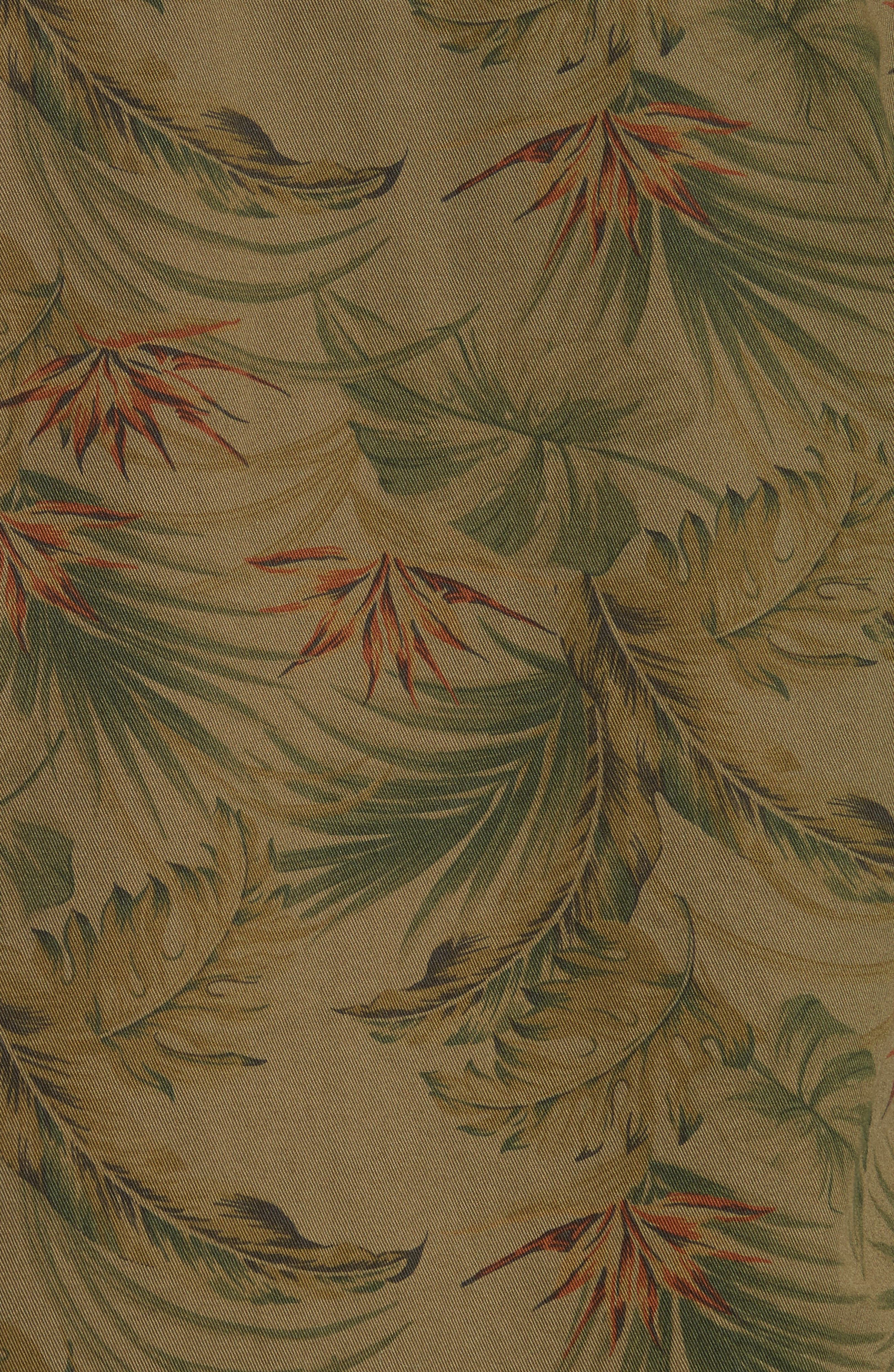 Flower Denim Jacket,                             Alternate thumbnail 5, color,                             Khaki