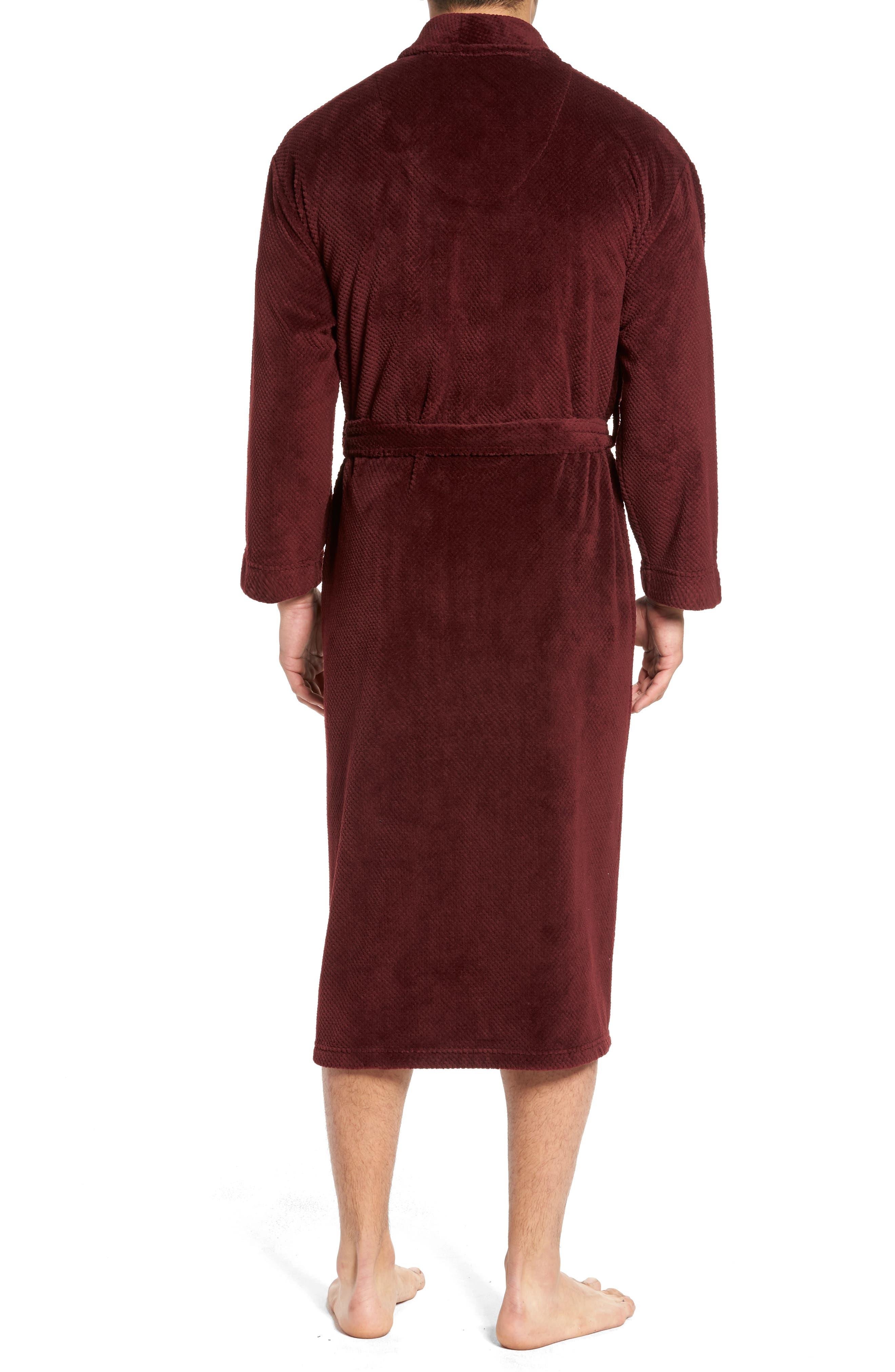 Fleece Robe,                             Alternate thumbnail 2, color,                             Burgundy