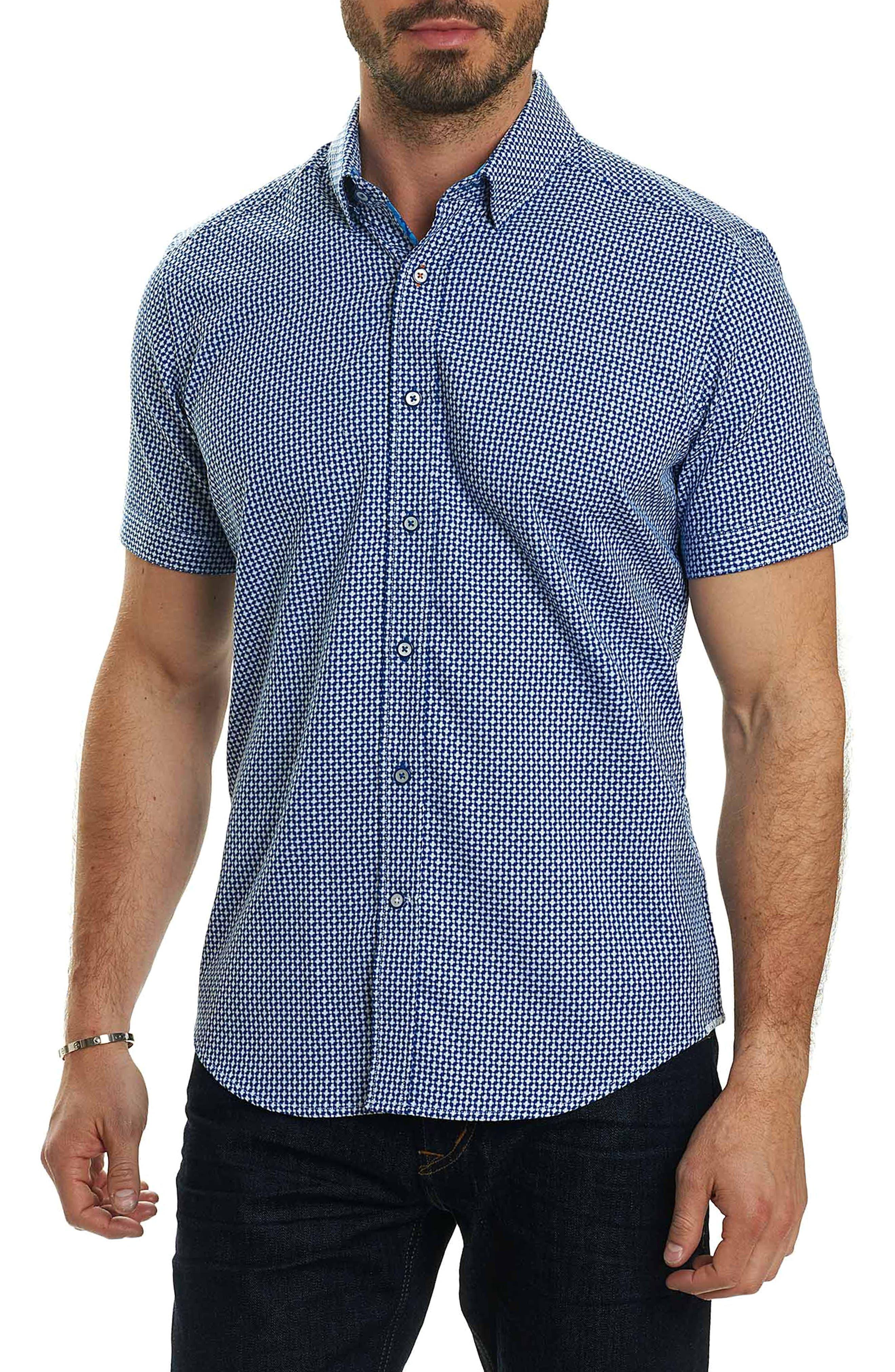 Nikko Tailored Fit Print Sport Shirt,                         Main,                         color, Navy