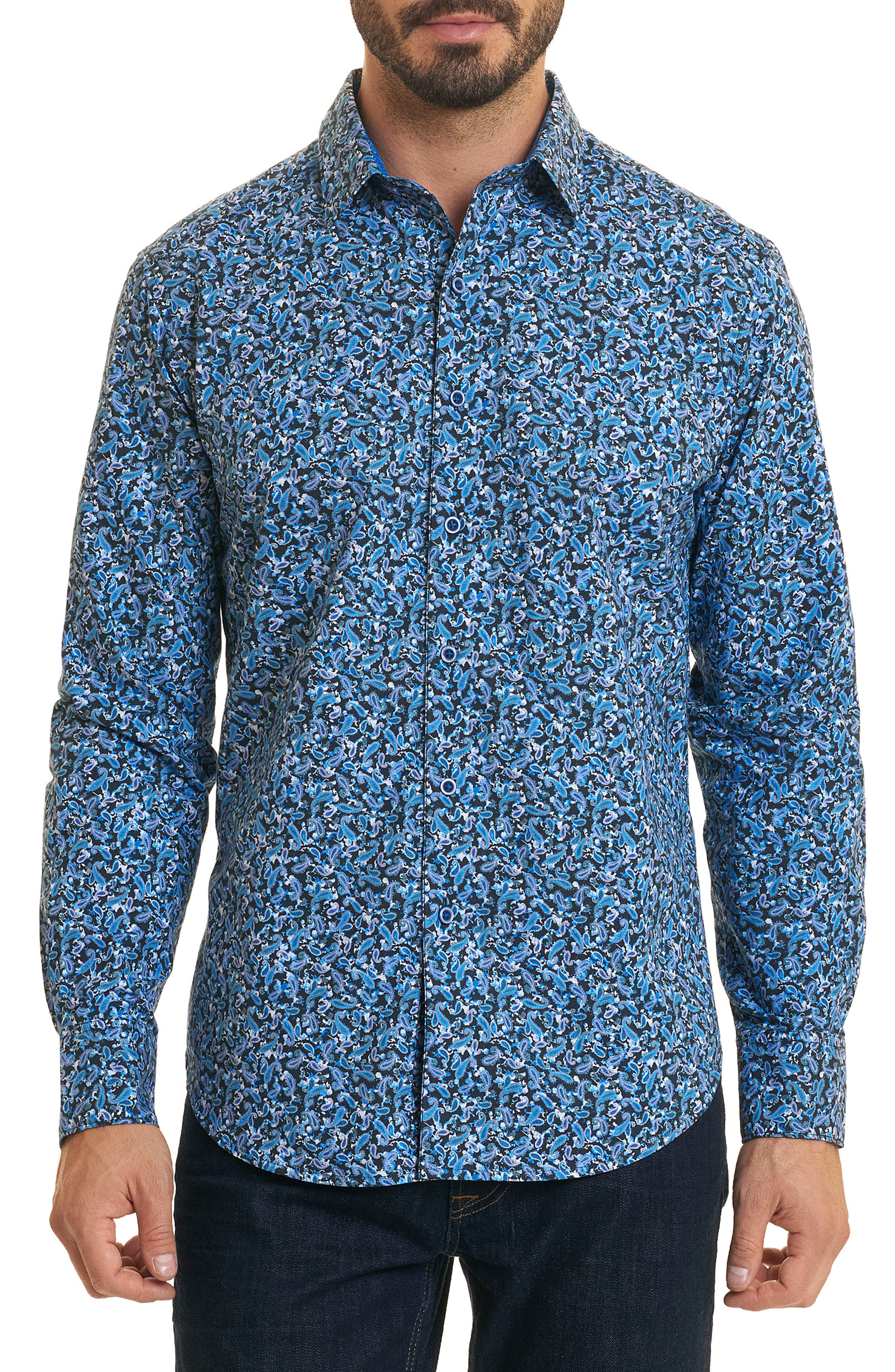 Congo Classic Fit Print Sport Shirt,                         Main,                         color, Blue