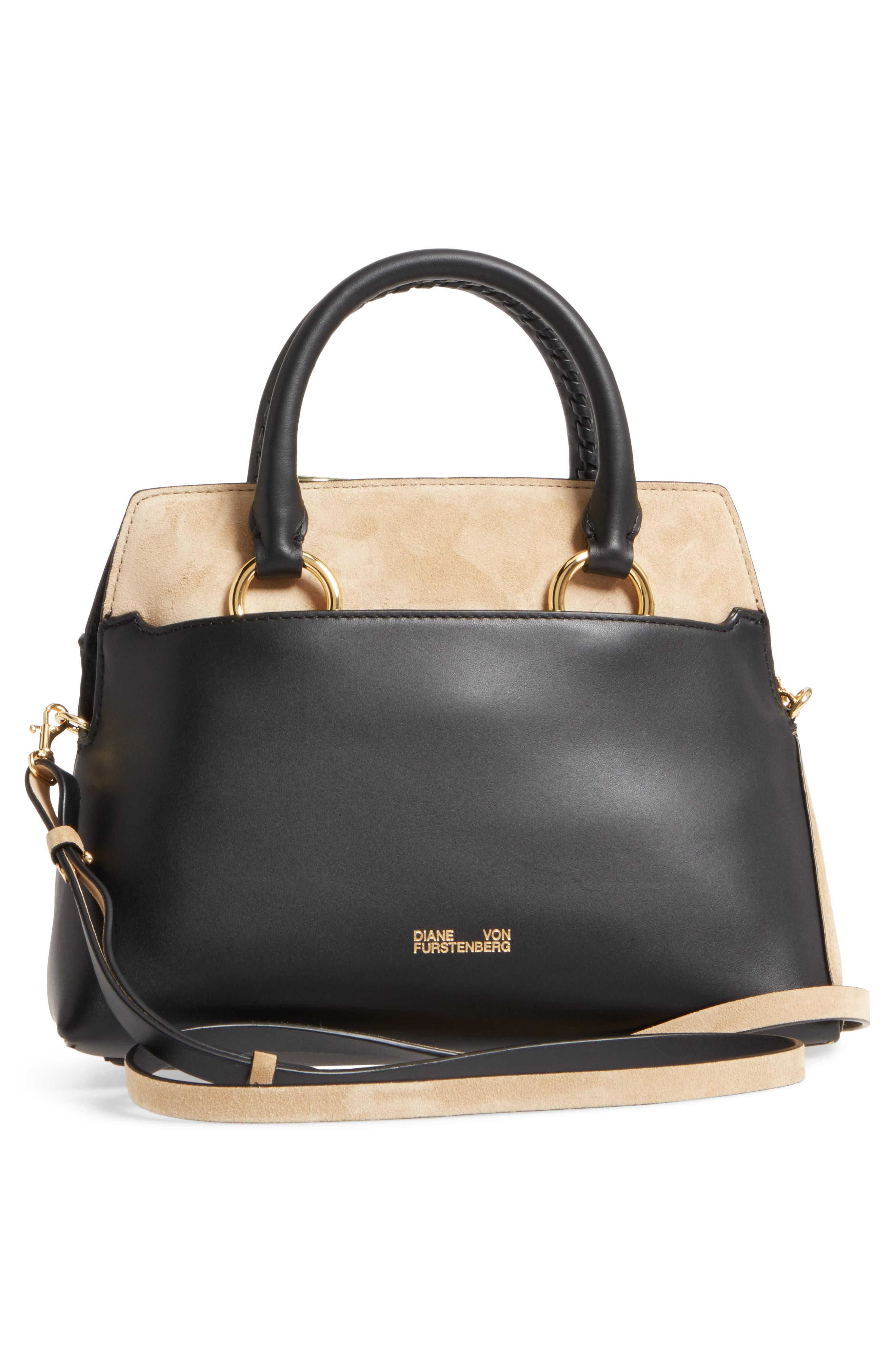 Small Leather & Suede Satchel,                             Alternate thumbnail 3, color,                             Black