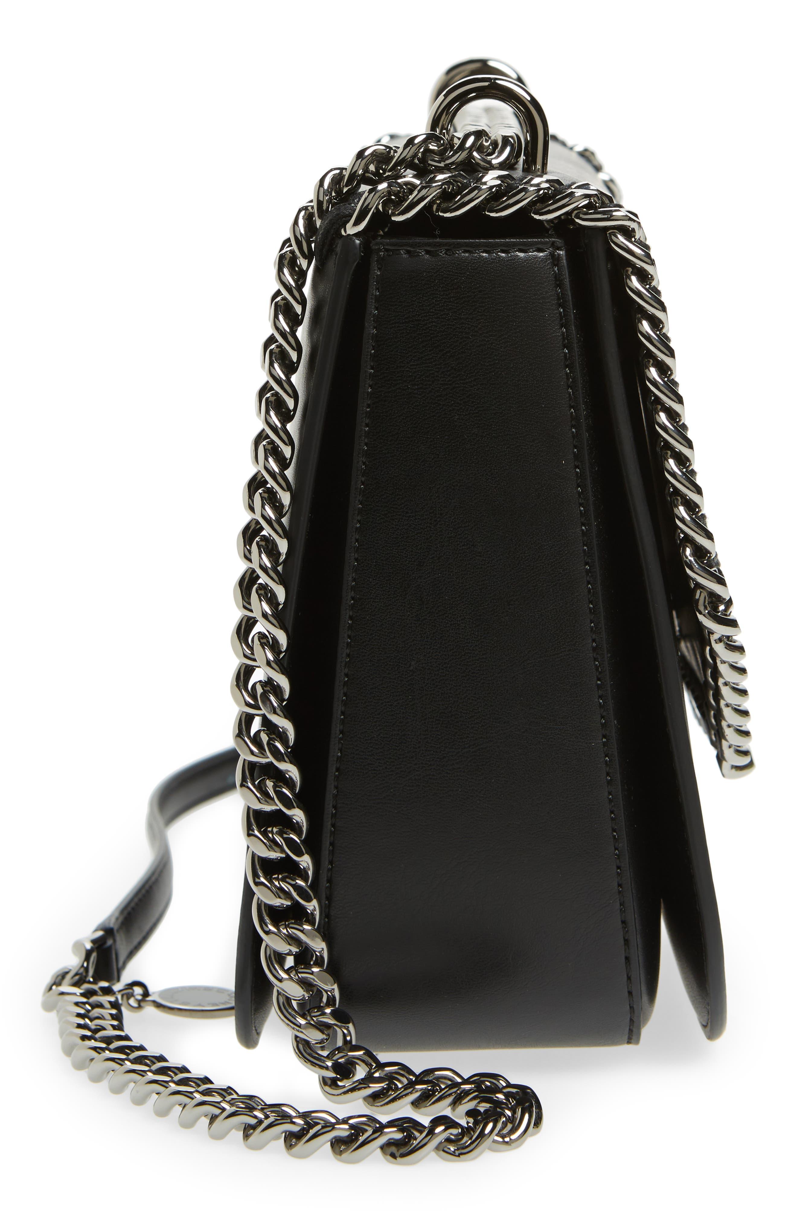 Small Falabella Box Alter Nappa Faux Leather Crossbody Bag,                             Alternate thumbnail 5, color,                             Black/ Black