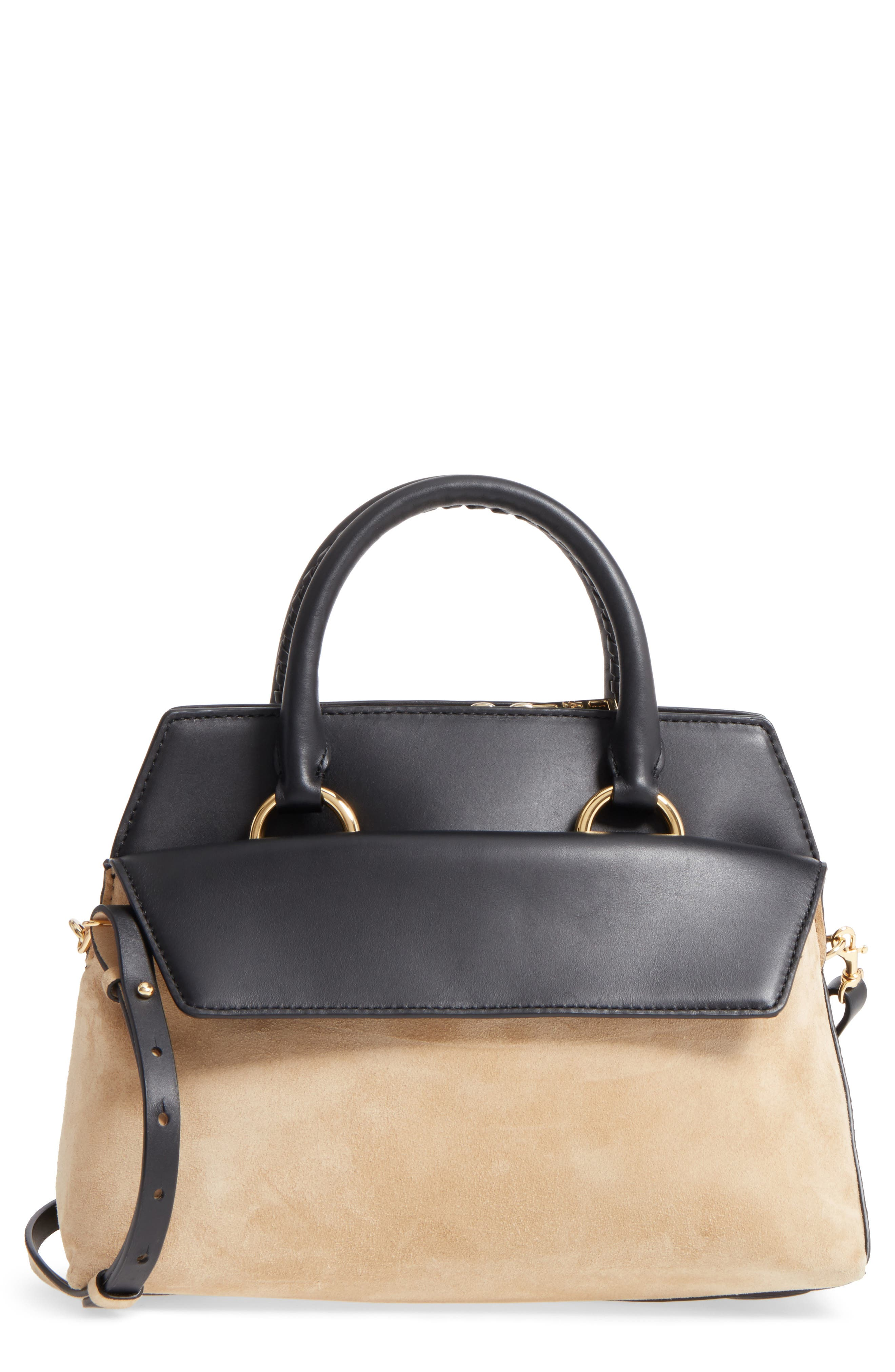 Small Leather & Suede Satchel,                             Main thumbnail 1, color,                             Black