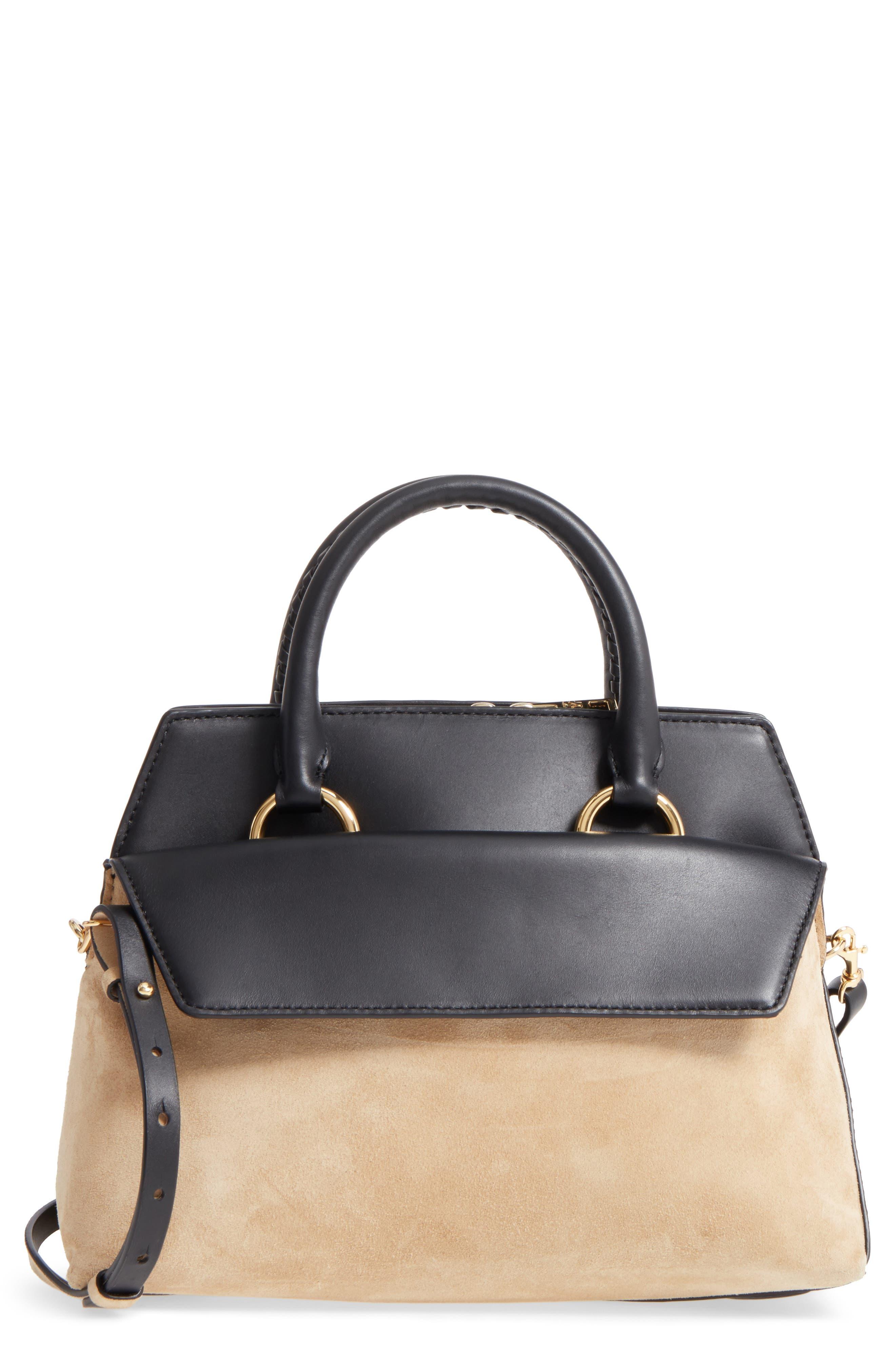 Main Image - Diane von Furstenberg Small Leather & Suede Satchel