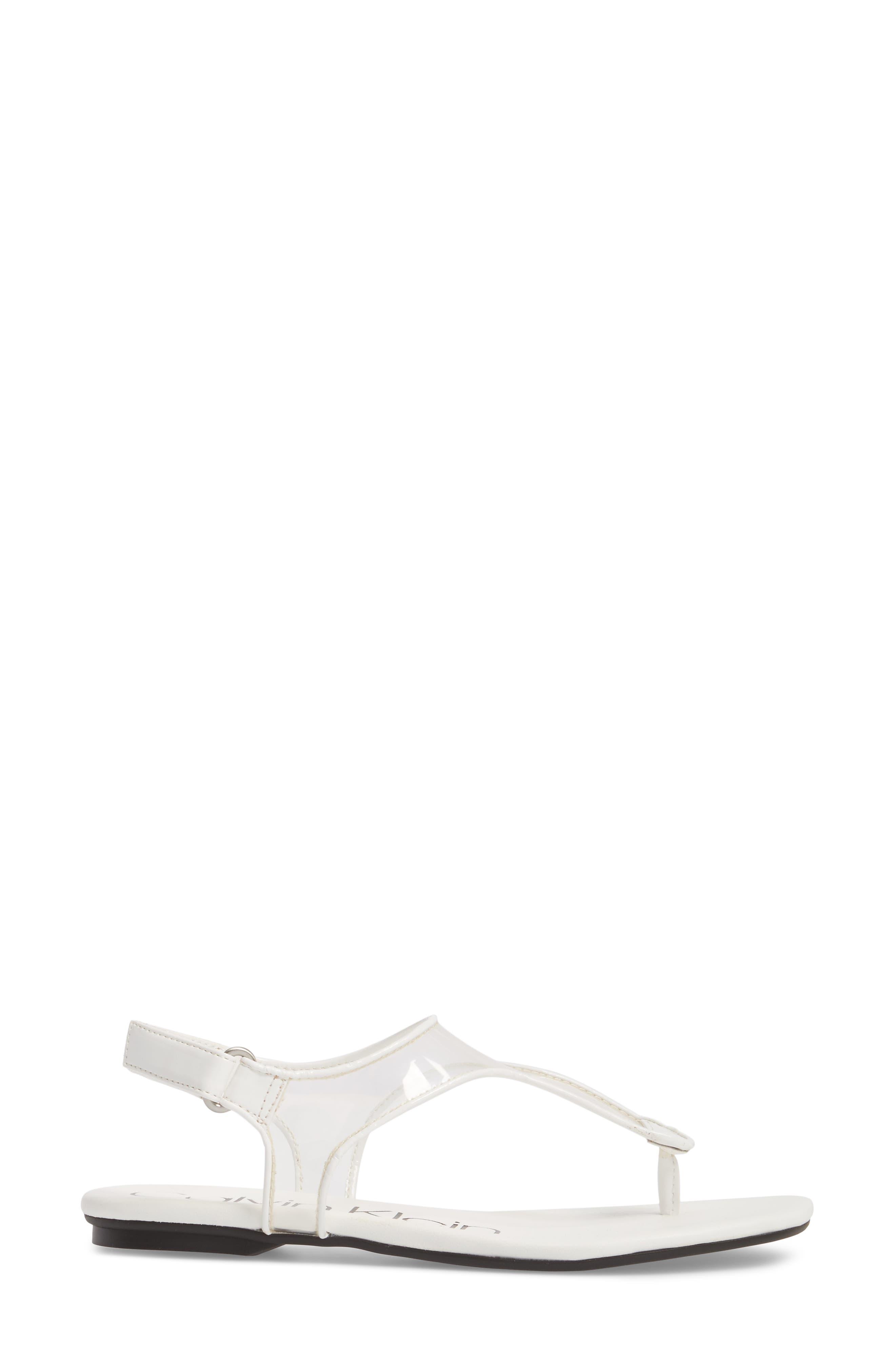 Shilo Clear Strap Sandal,                             Alternate thumbnail 3, color,                             Platinum White Faux Leather