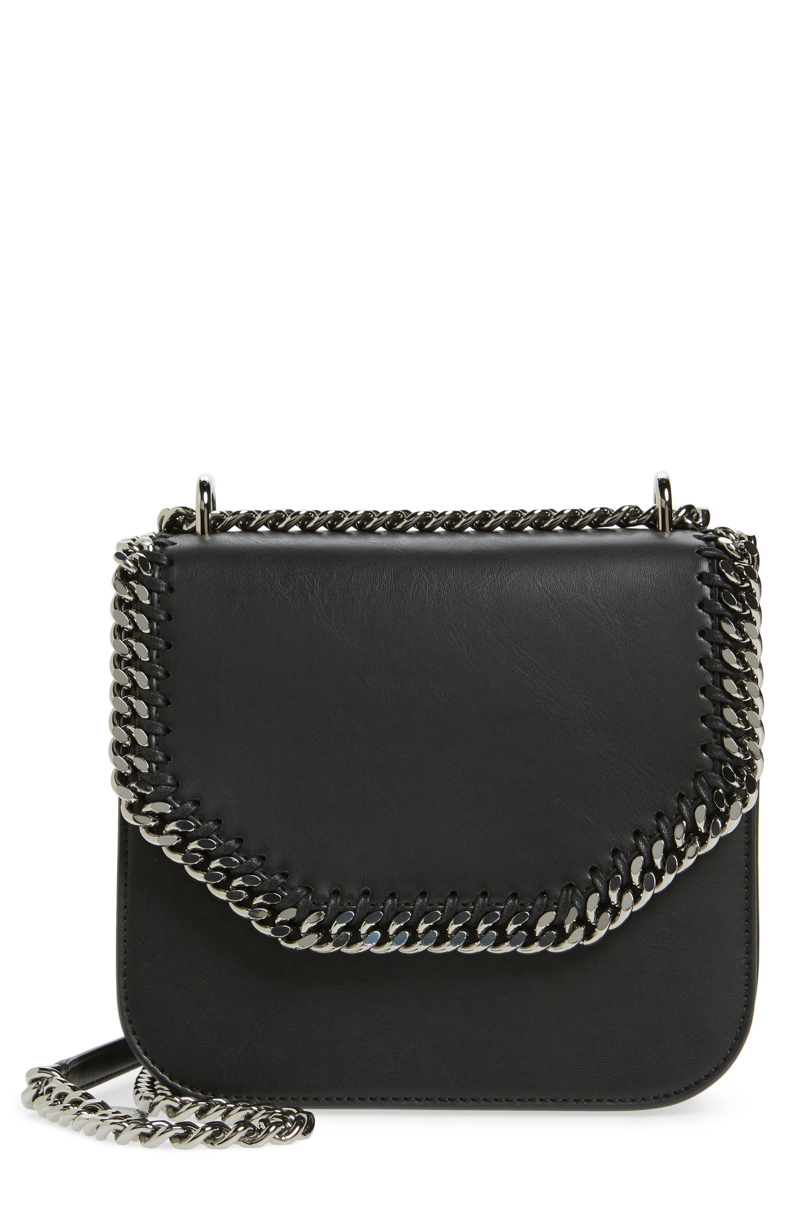 Small Falabella Box Alter Nappa Faux Leather Crossbody Bag,                         Main,                         color, Black/ Black