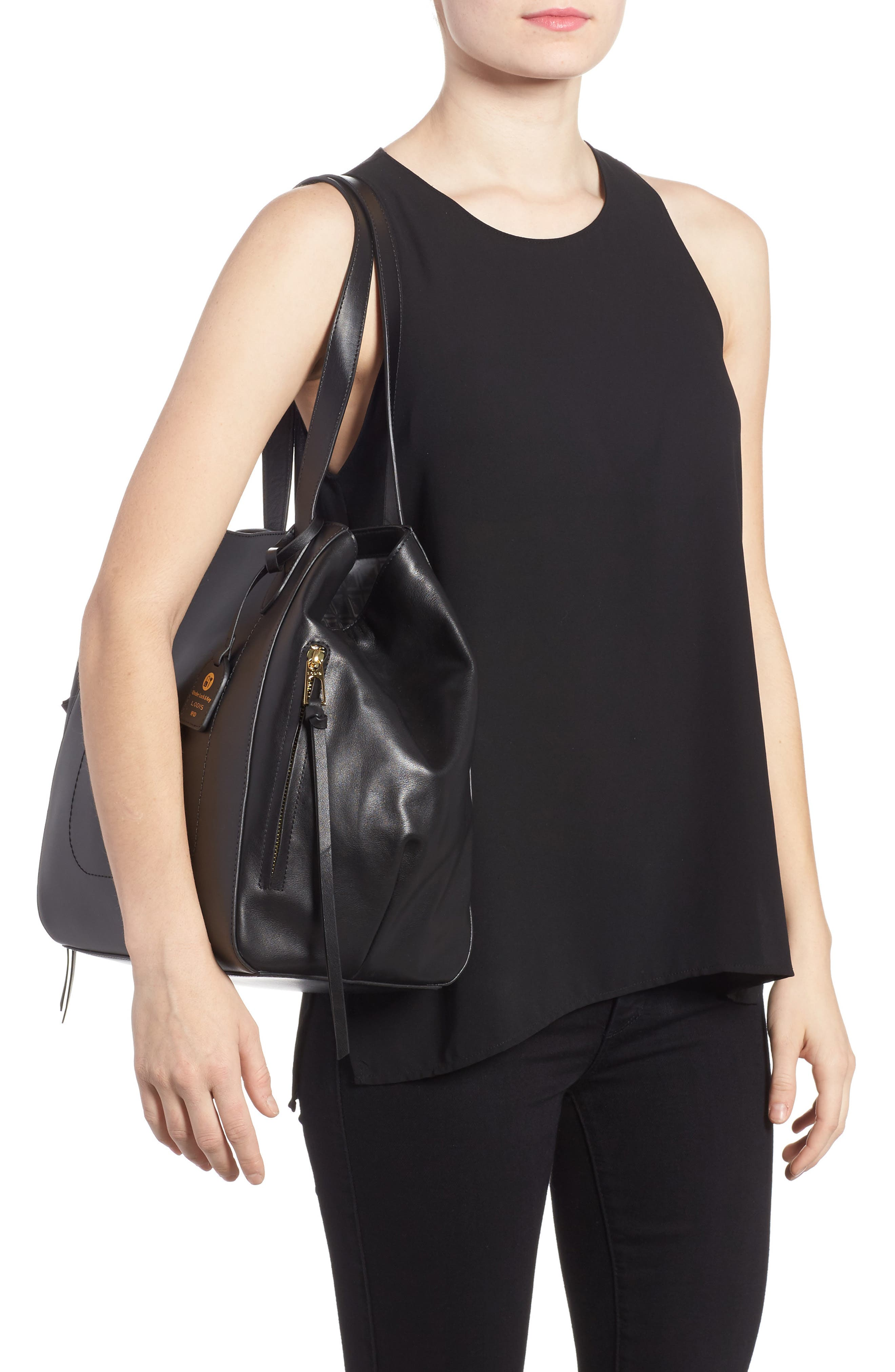 Downtown Charlize RFID Leather Tote,                             Alternate thumbnail 2, color,                             Black