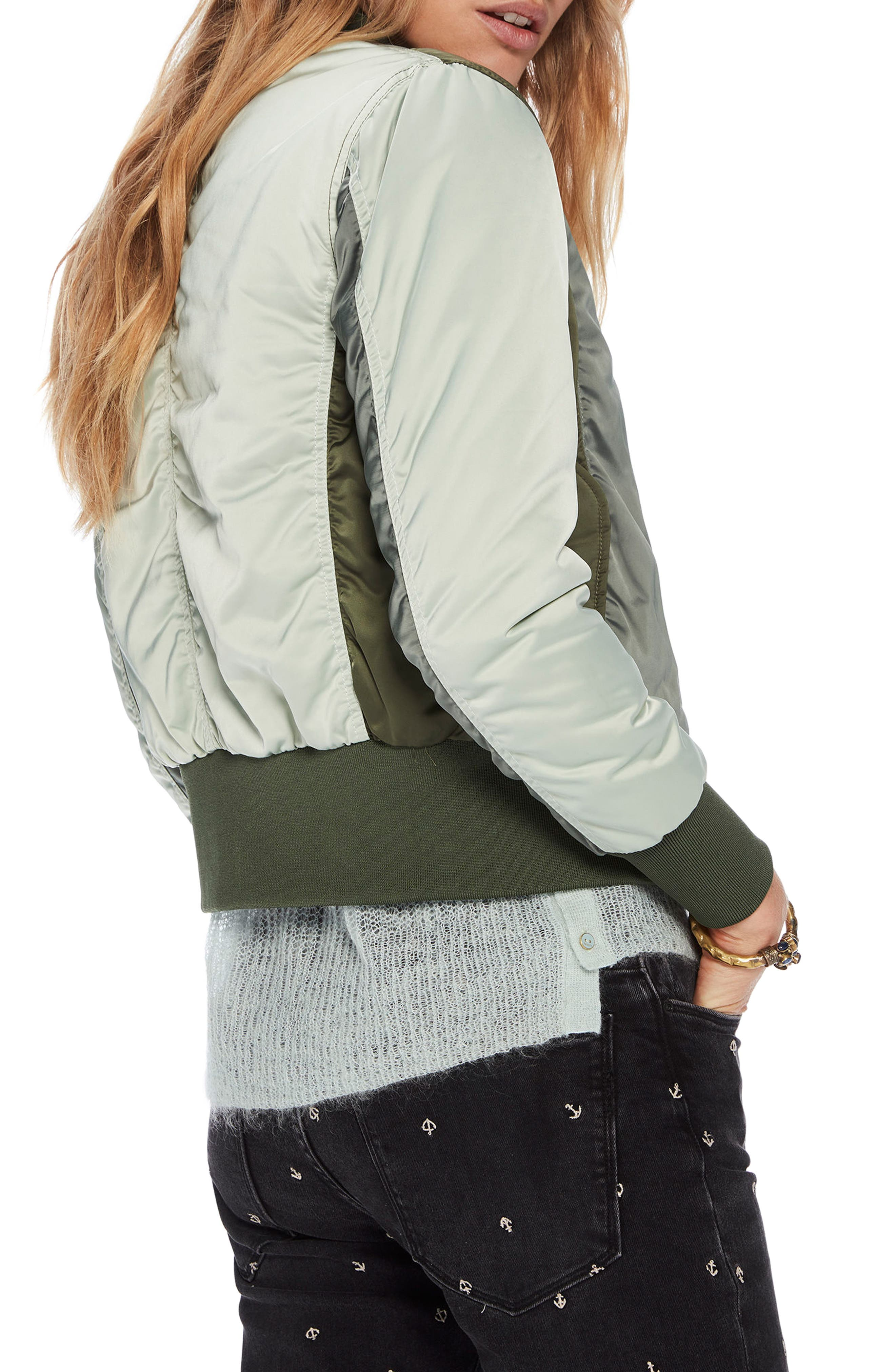 Crop Bomber Jacket,                             Alternate thumbnail 3, color,                             Army / Off White