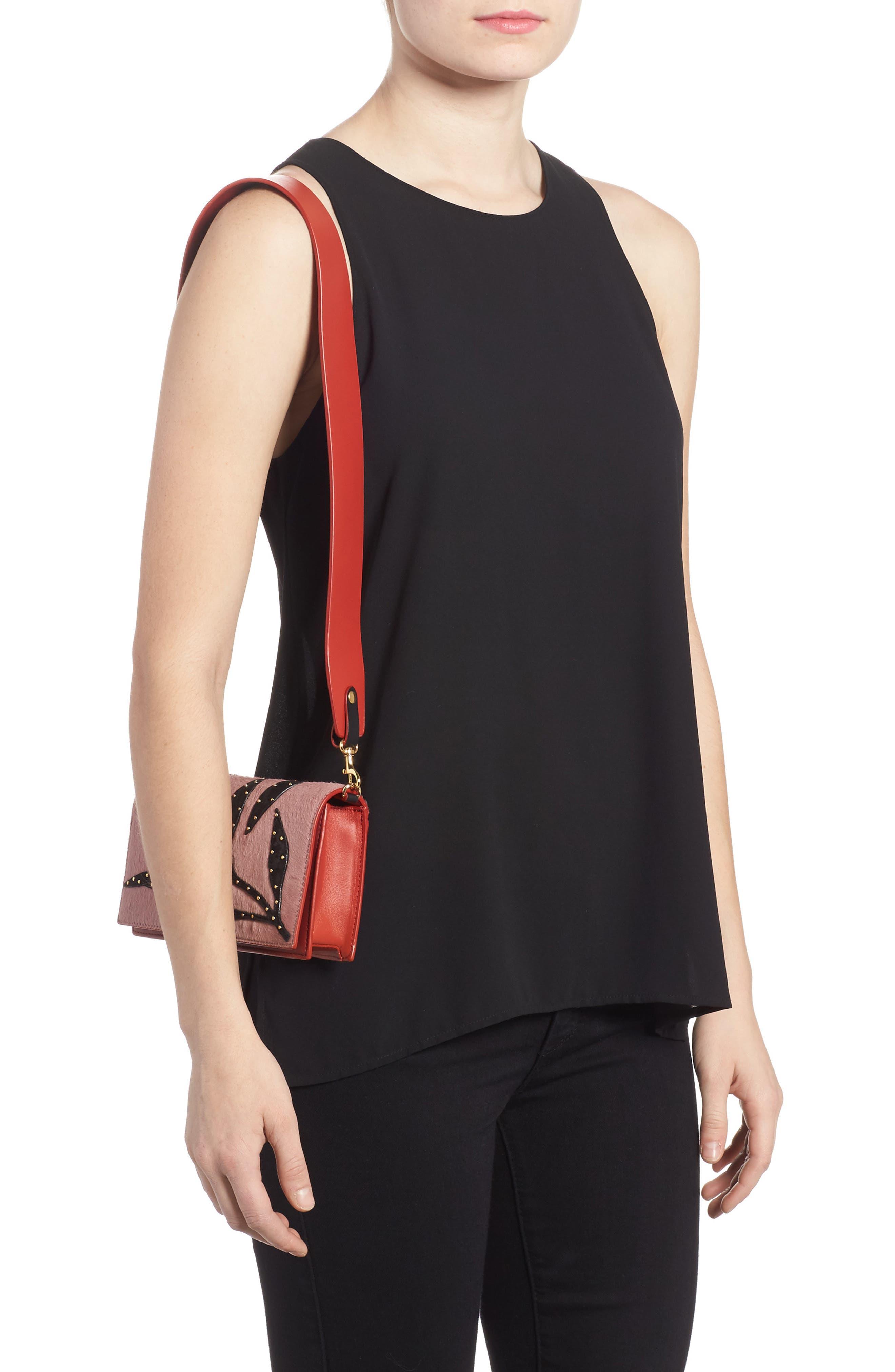 Soirée Genuine Calf Hair & Leather Convertible Shoulder Bag,                             Alternate thumbnail 2, color,                             Mauve
