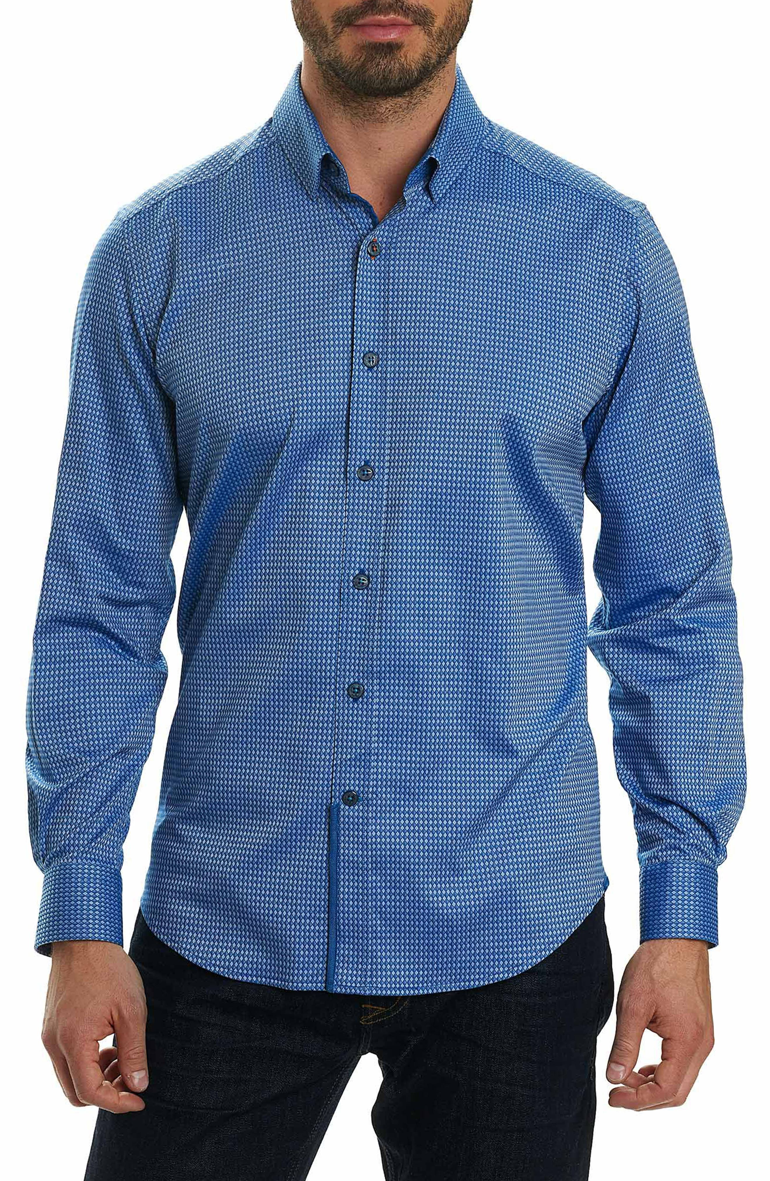 Matthew Tailored Fit Print Sport Shirt,                         Main,                         color, Navy