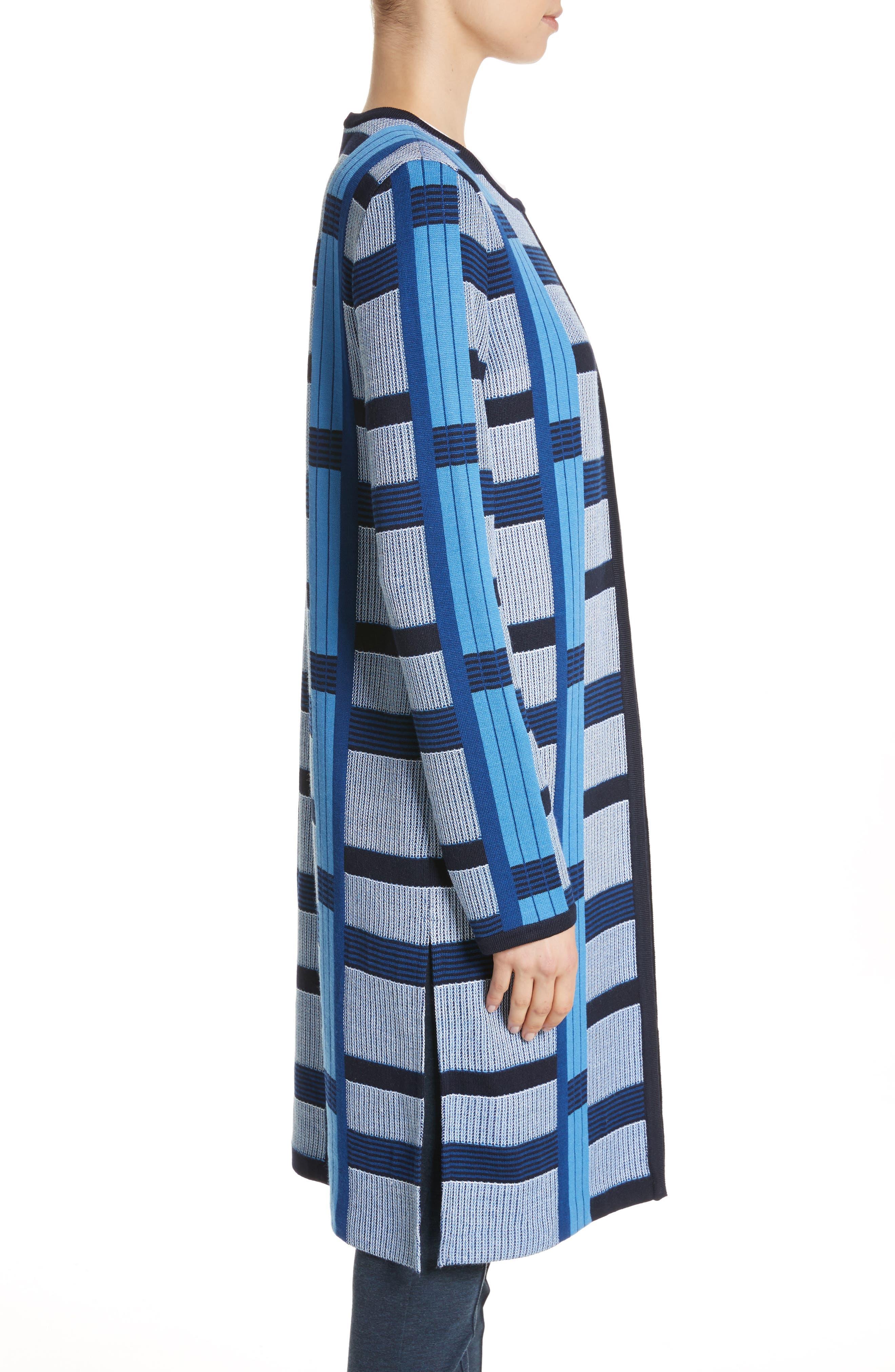 Colorblock Knit Jacket,                             Alternate thumbnail 3, color,                             Niagara Multi