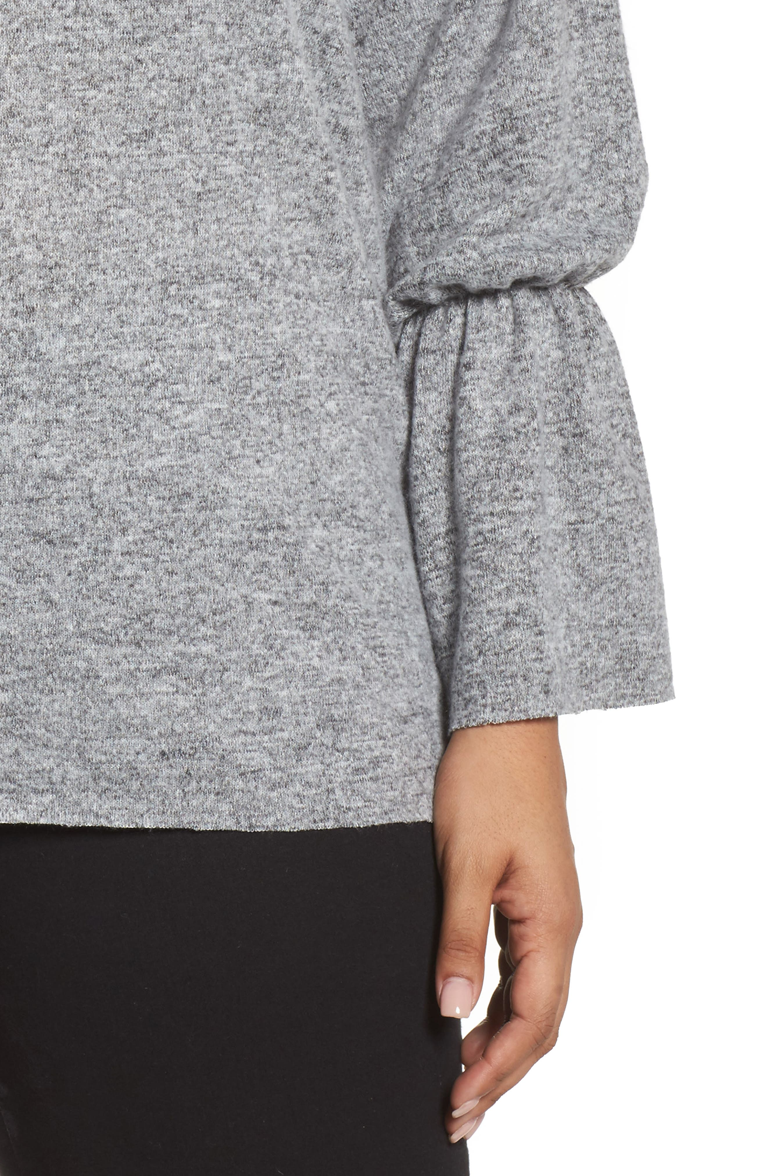 Yummy Fluted Cuff Top,                             Alternate thumbnail 4, color,                             Dark Grey