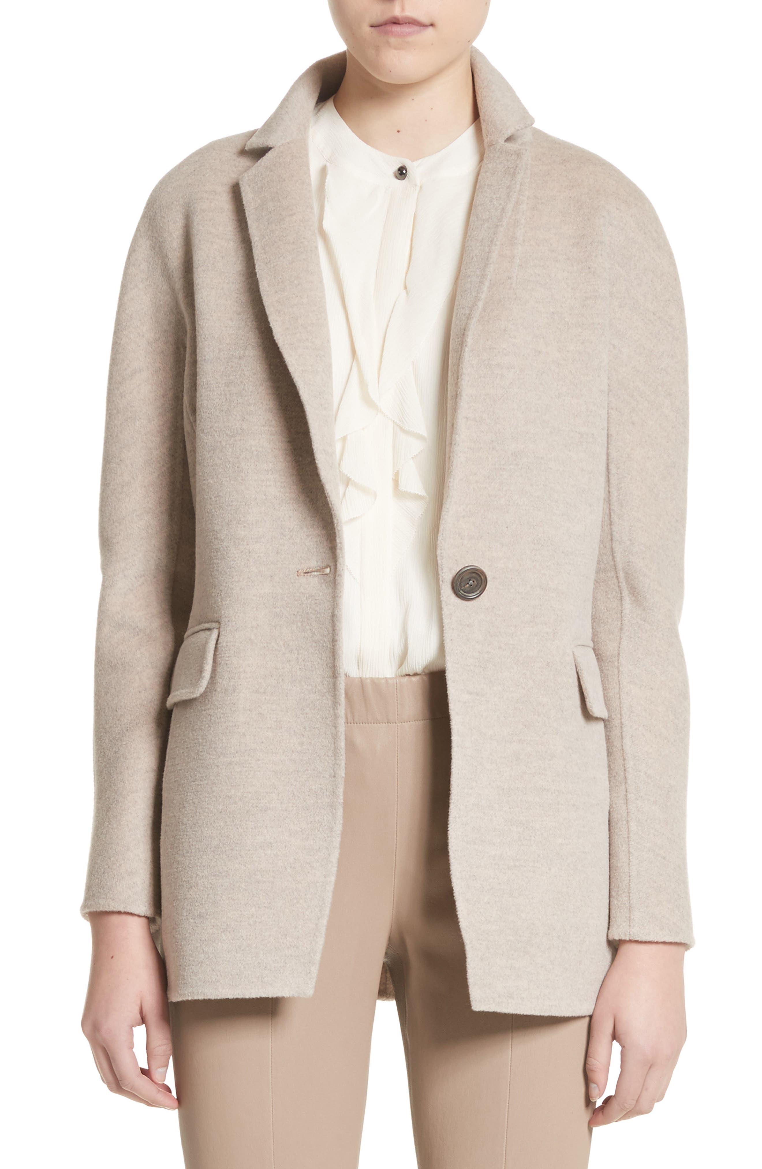 Double Face Wool, Angora & Cashmere Blend Blazer,                         Main,                         color, Taupe Melange