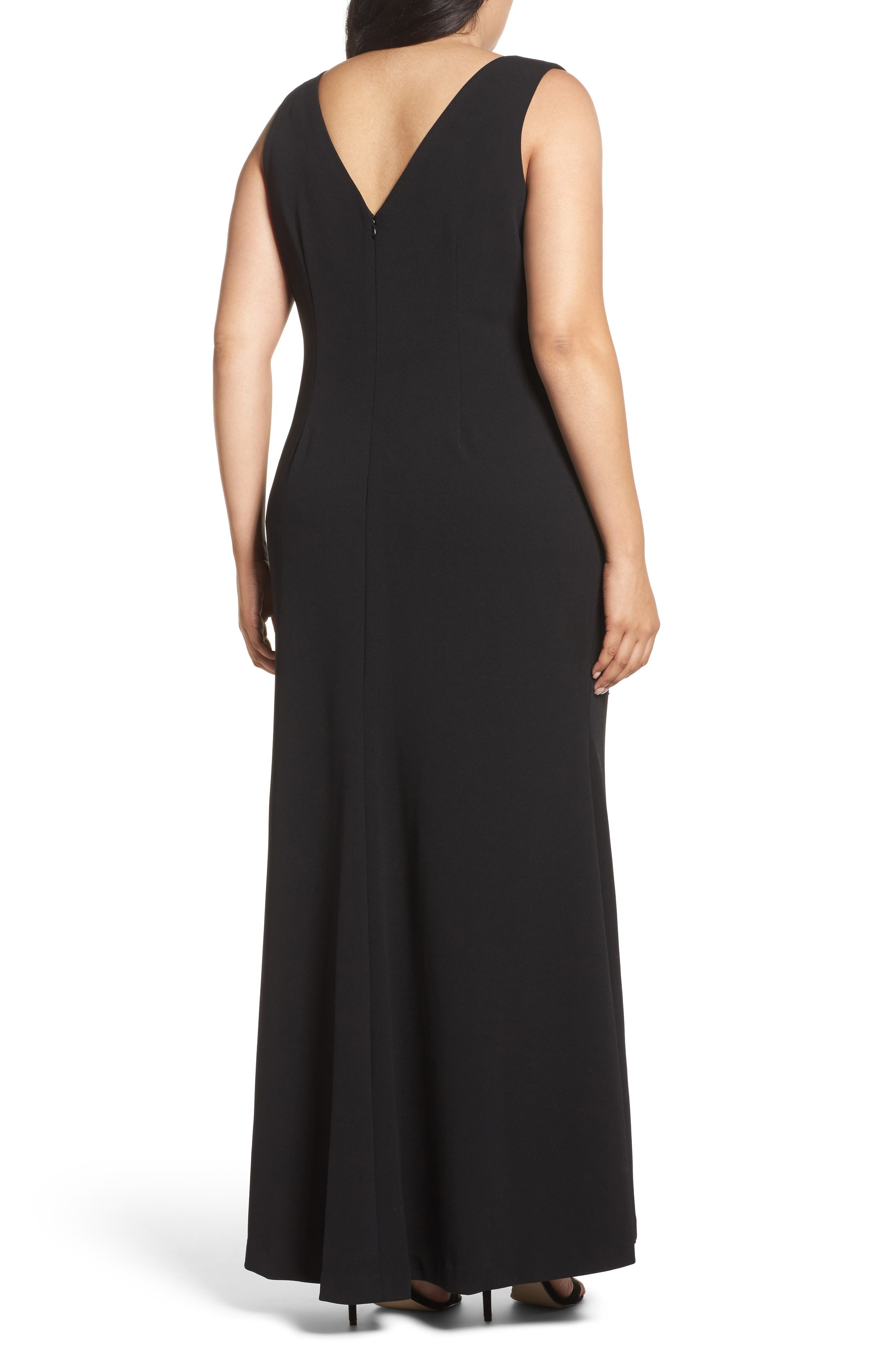 Embellished A-Line Gown,                             Alternate thumbnail 2, color,                             Black