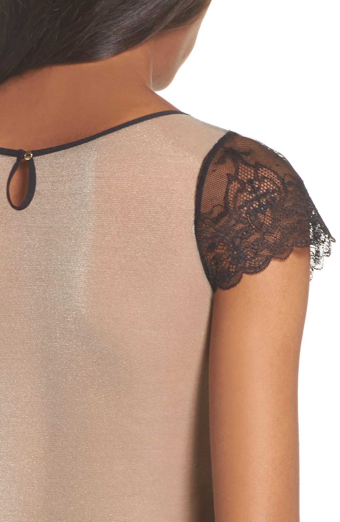 L'Antichambre Mesh & Lace Thong Bodysuit,                             Alternate thumbnail 5, color,                             Black / Nude