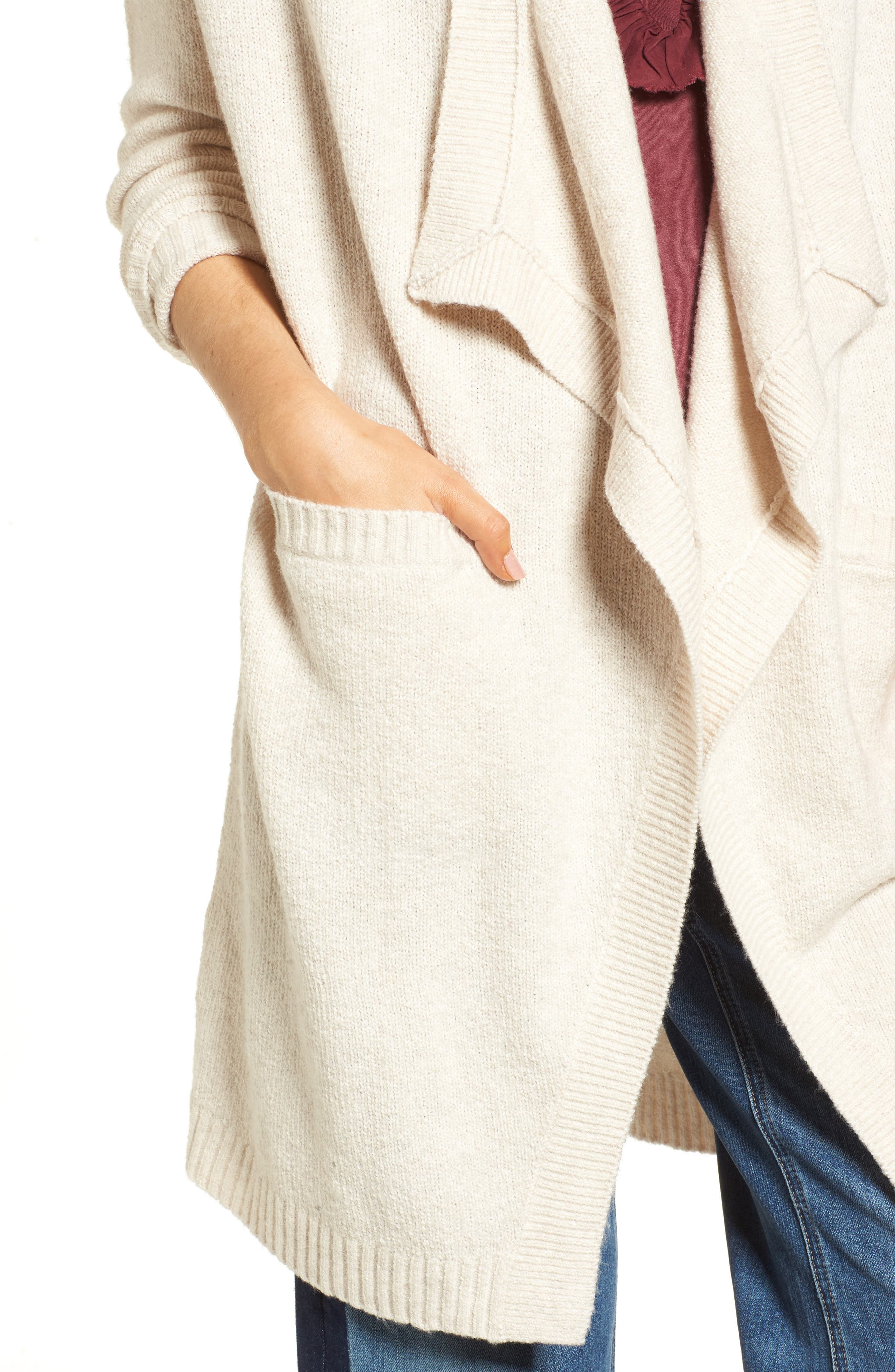 Drape Cardigan,                             Alternate thumbnail 4, color,                             Beige Oatmeal Heather