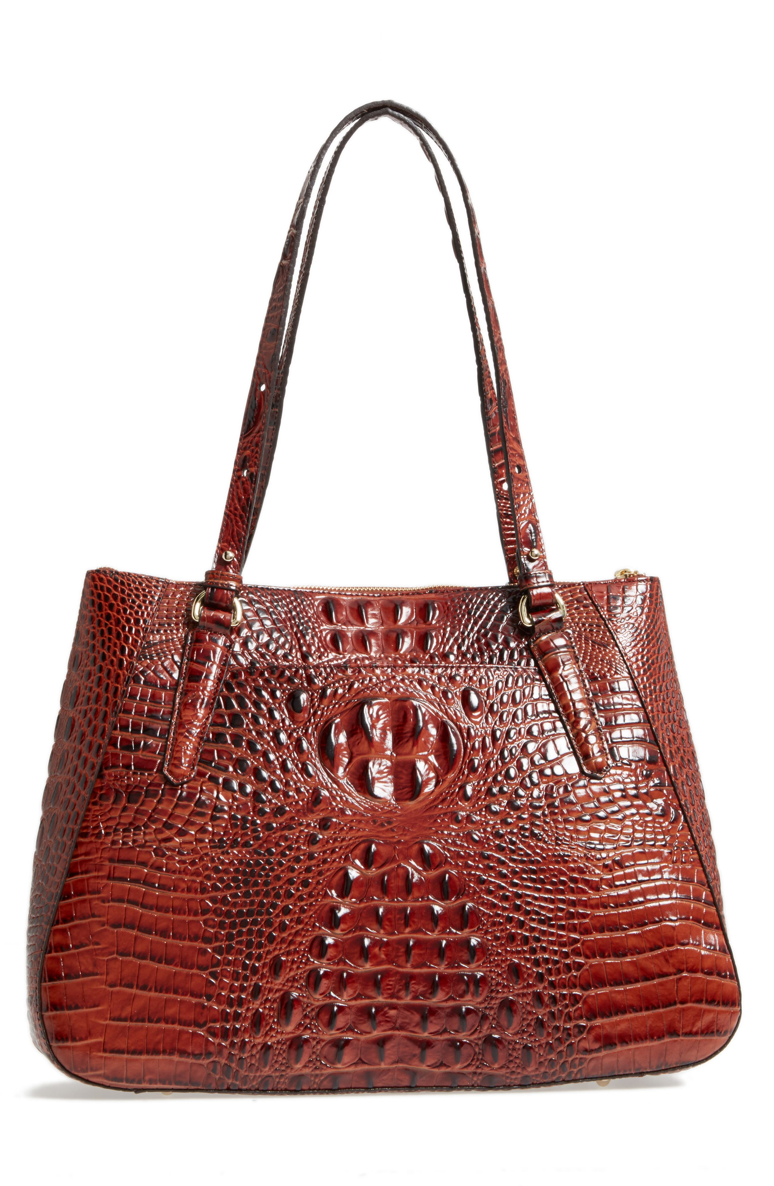 Melbourne - Adina Croc Embossed Leather Satchel,                             Alternate thumbnail 3, color,                             Pecan