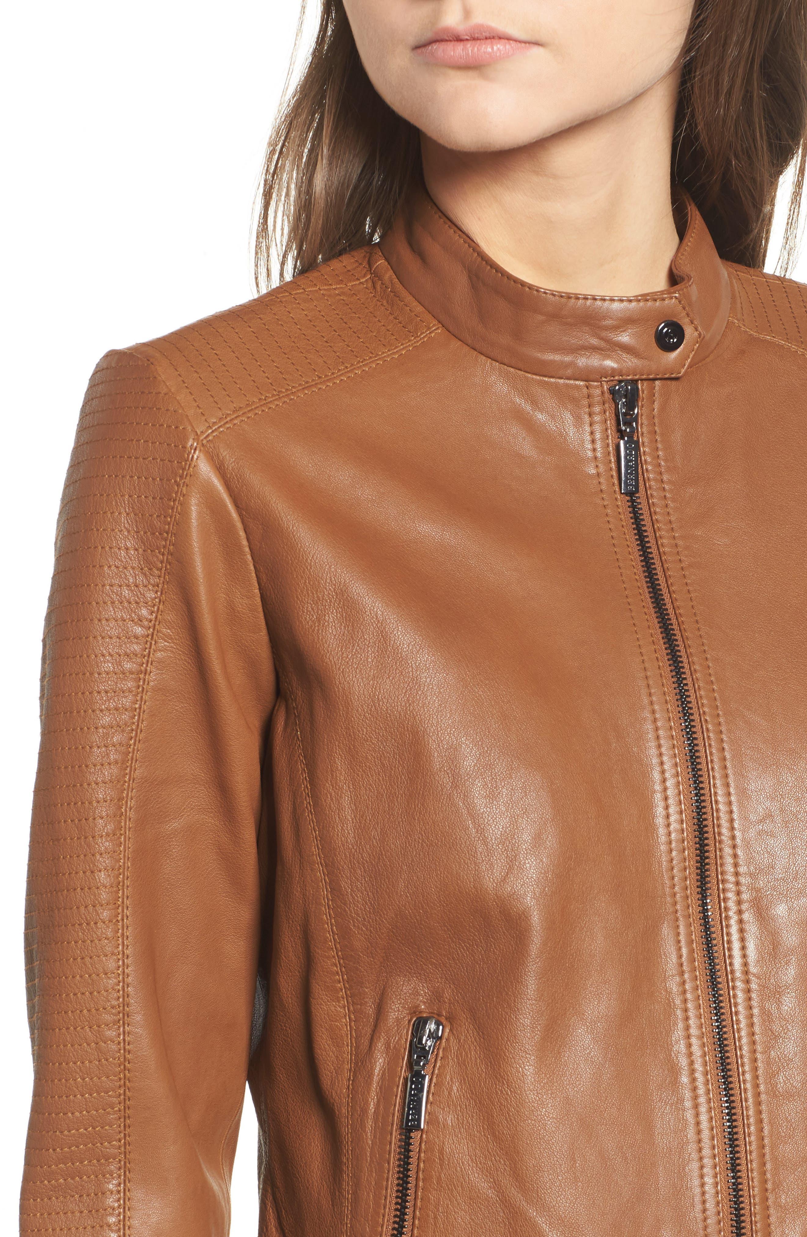 Kirwin Leather Moto Jacket,                             Alternate thumbnail 4, color,                             Pecan