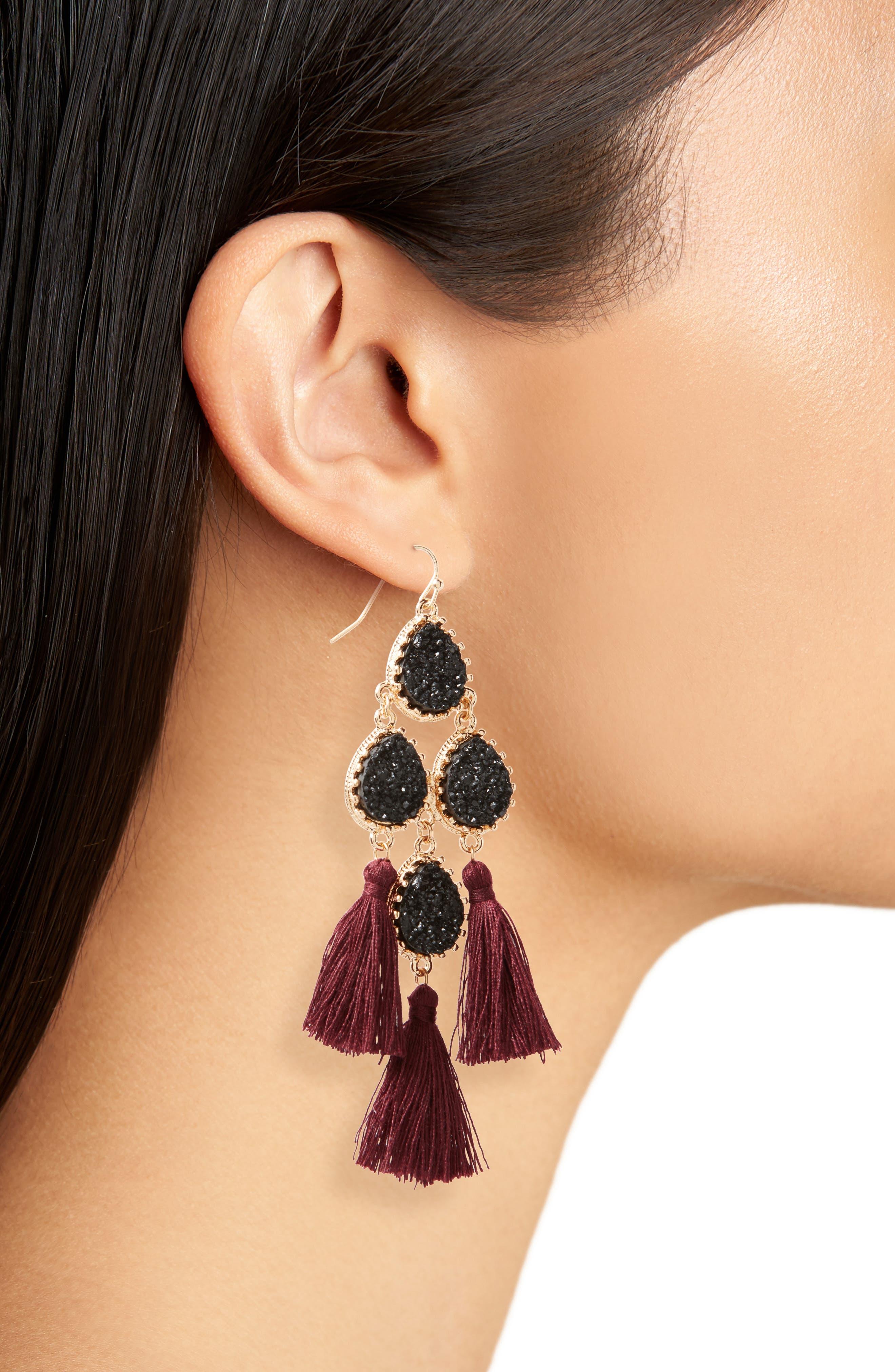 Tassel Earrings,                             Alternate thumbnail 2, color,                             Jet