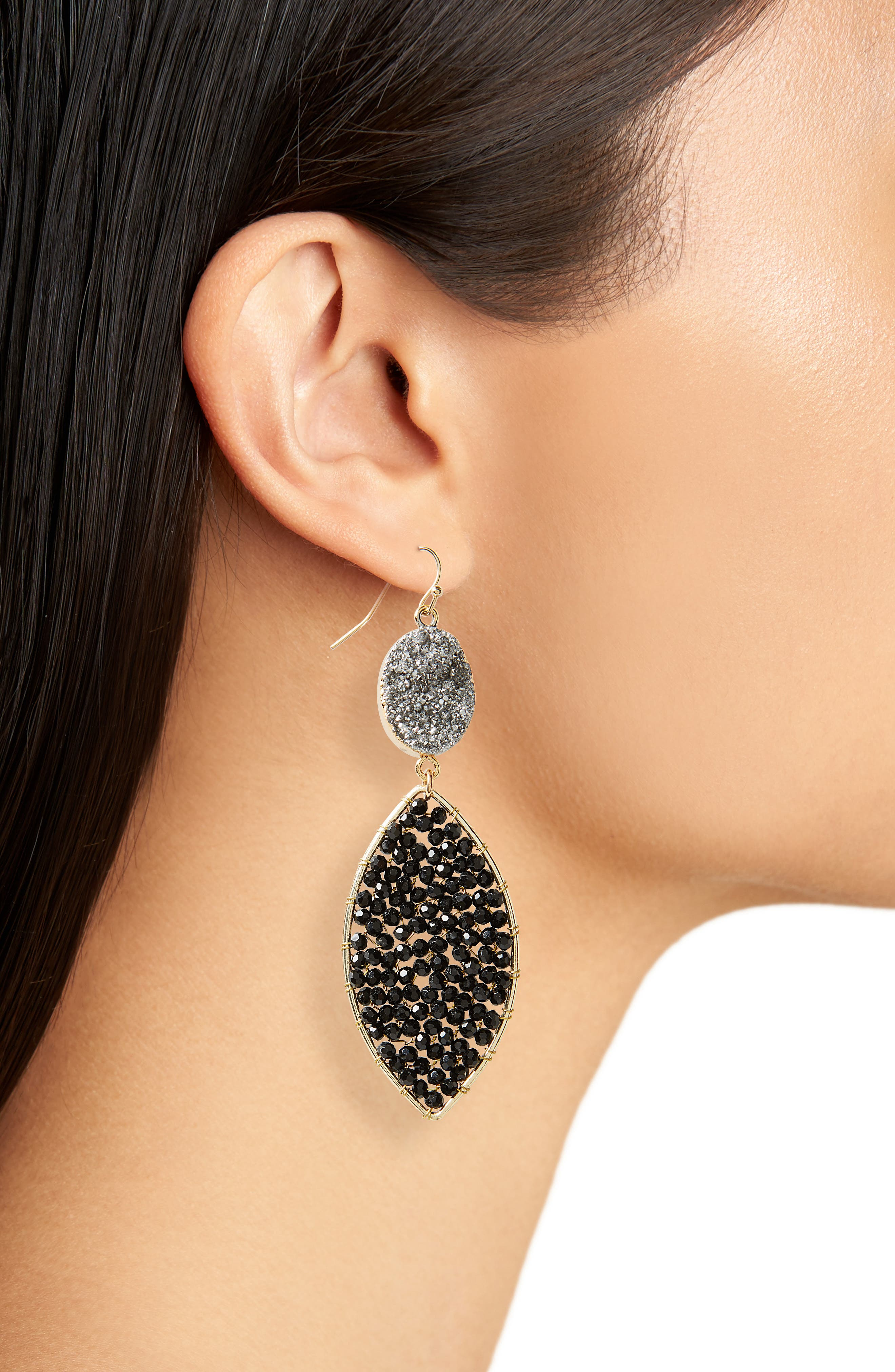 Drusy Drop Earrings,                             Alternate thumbnail 3, color,                             Jet