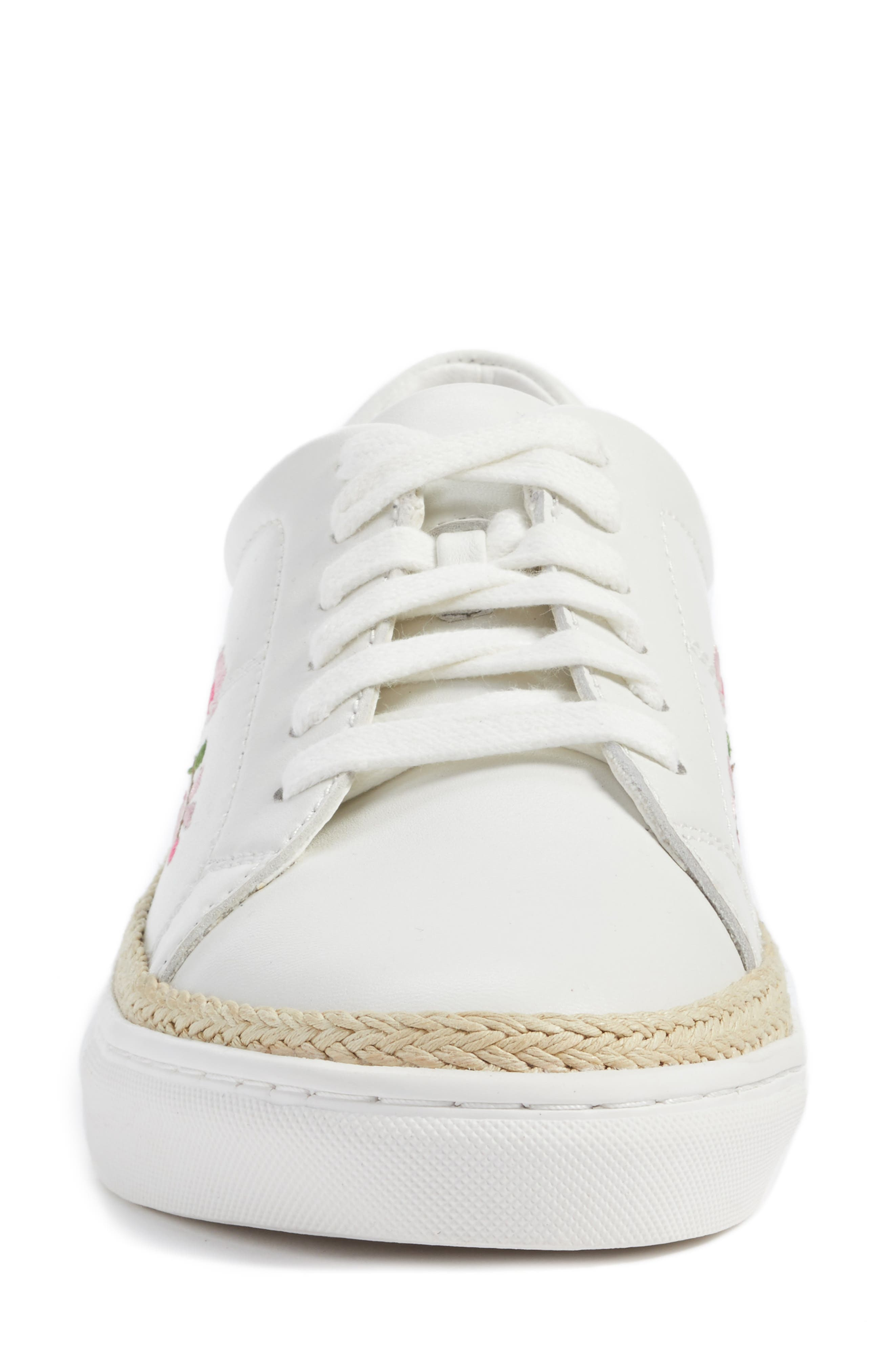 Perry Lea Embroidered Sneaker,                             Alternate thumbnail 5, color,                             White Leather