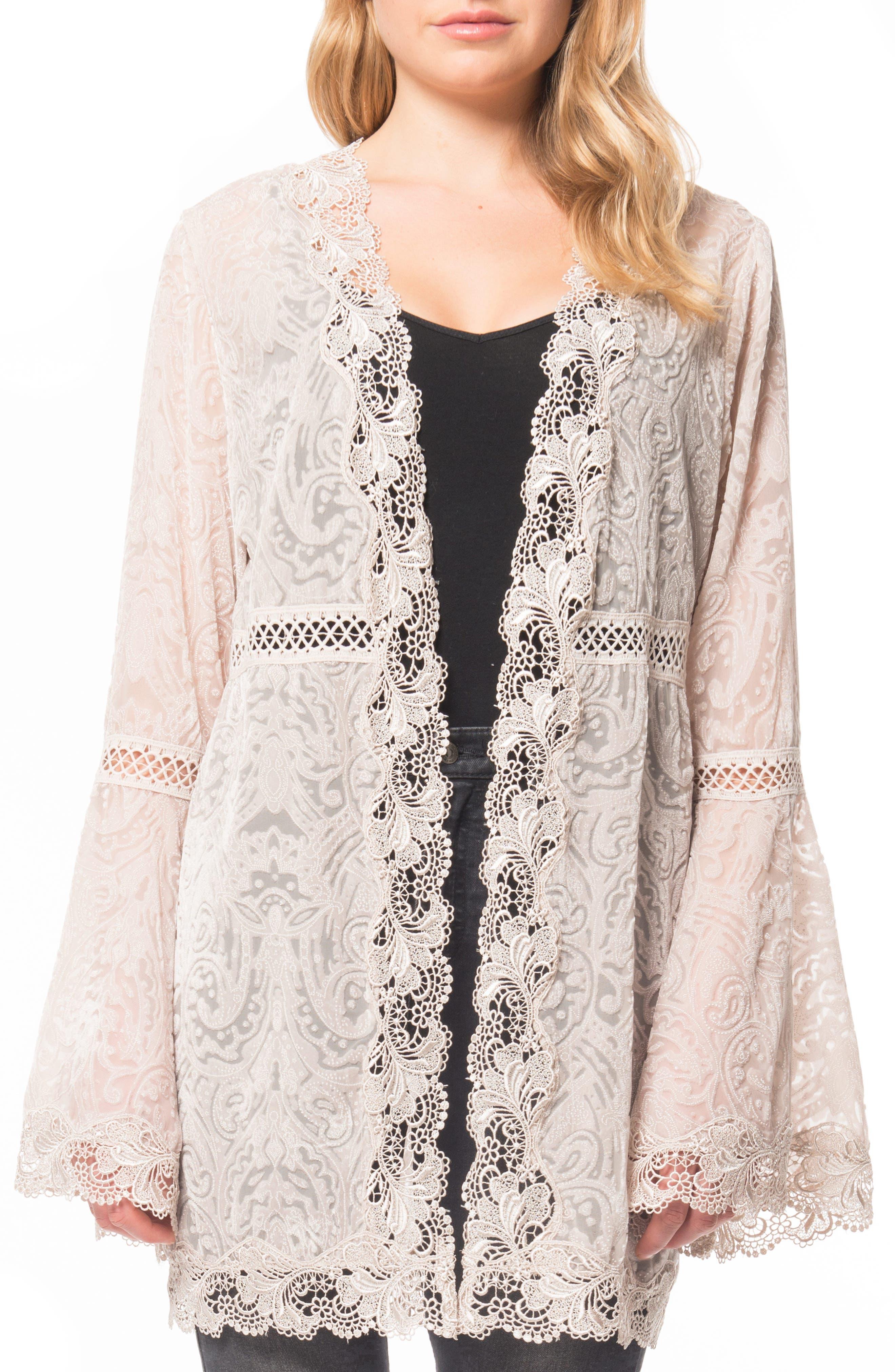 Velvet & Lace Kimono Cardigan,                         Main,                         color, Pearl