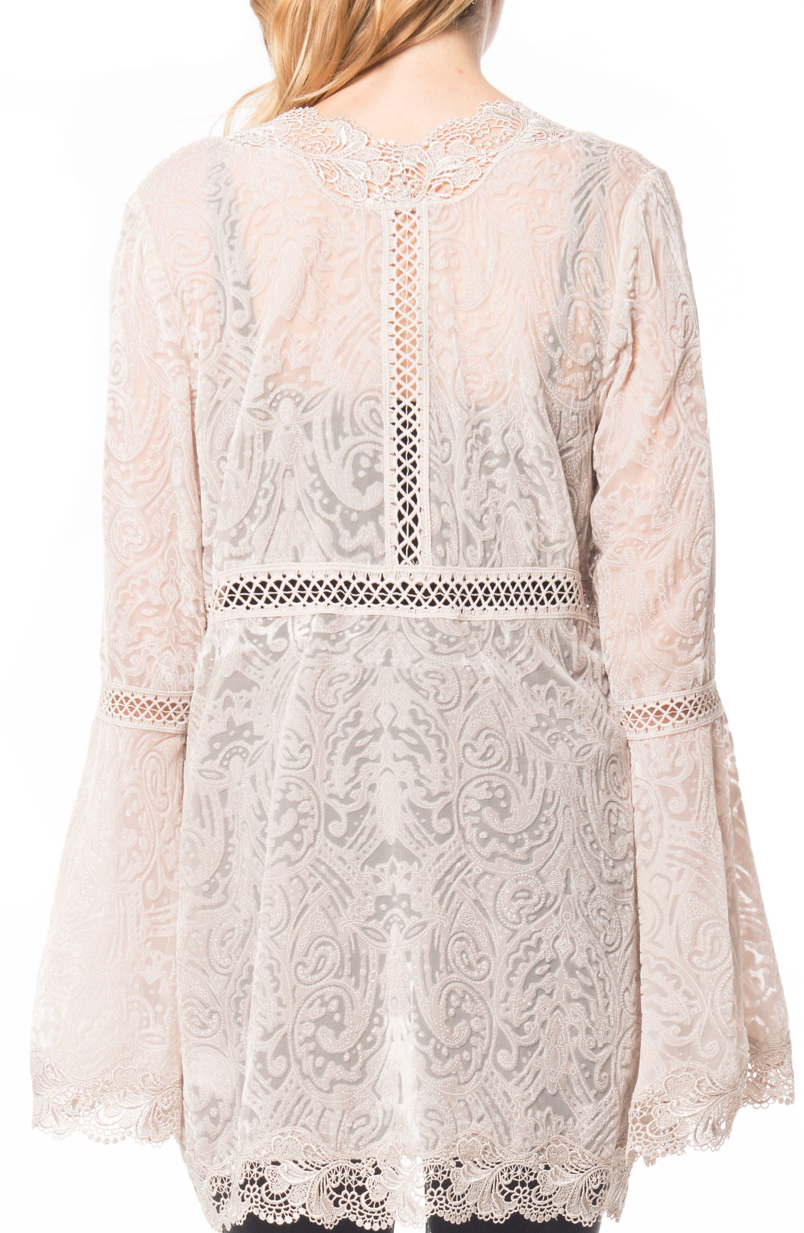 Velvet & Lace Kimono Cardigan,                             Alternate thumbnail 2, color,                             Pearl