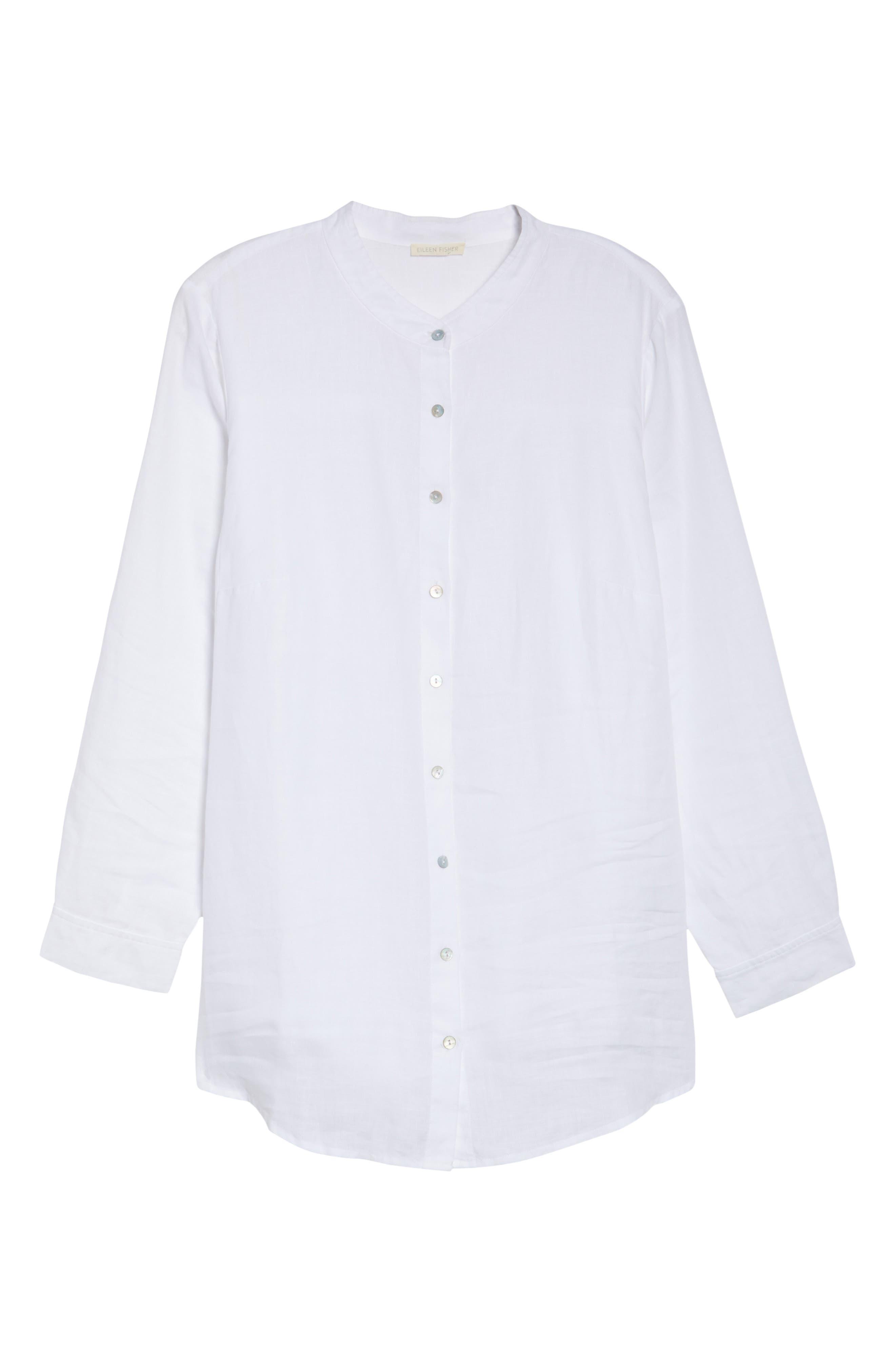 Alternate Image 6  - Eileen Fisher Organic Linen Tunic Shirt (Plus Size)