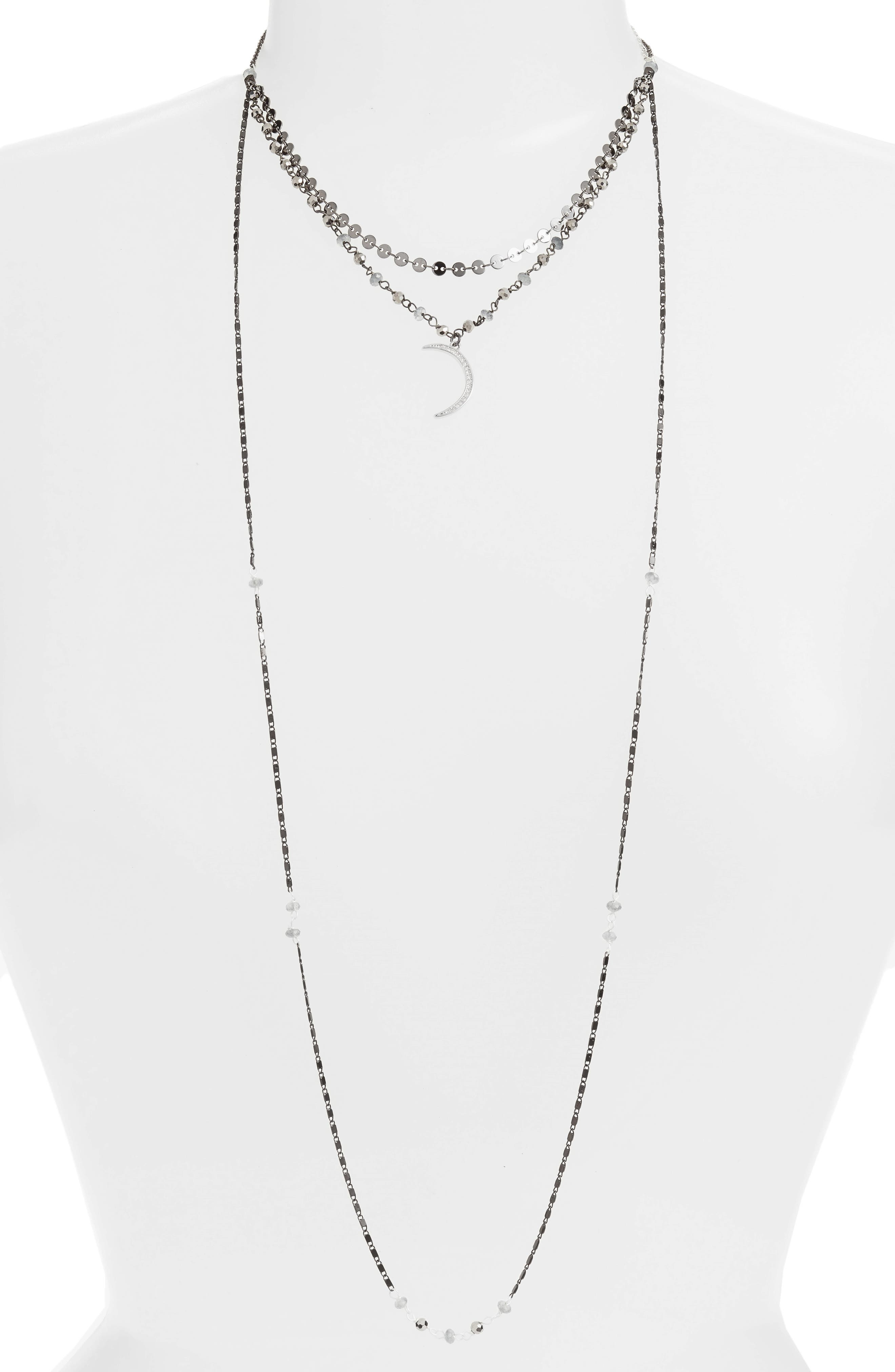 Moon Charm Layered Necklace,                         Main,                         color, Grey