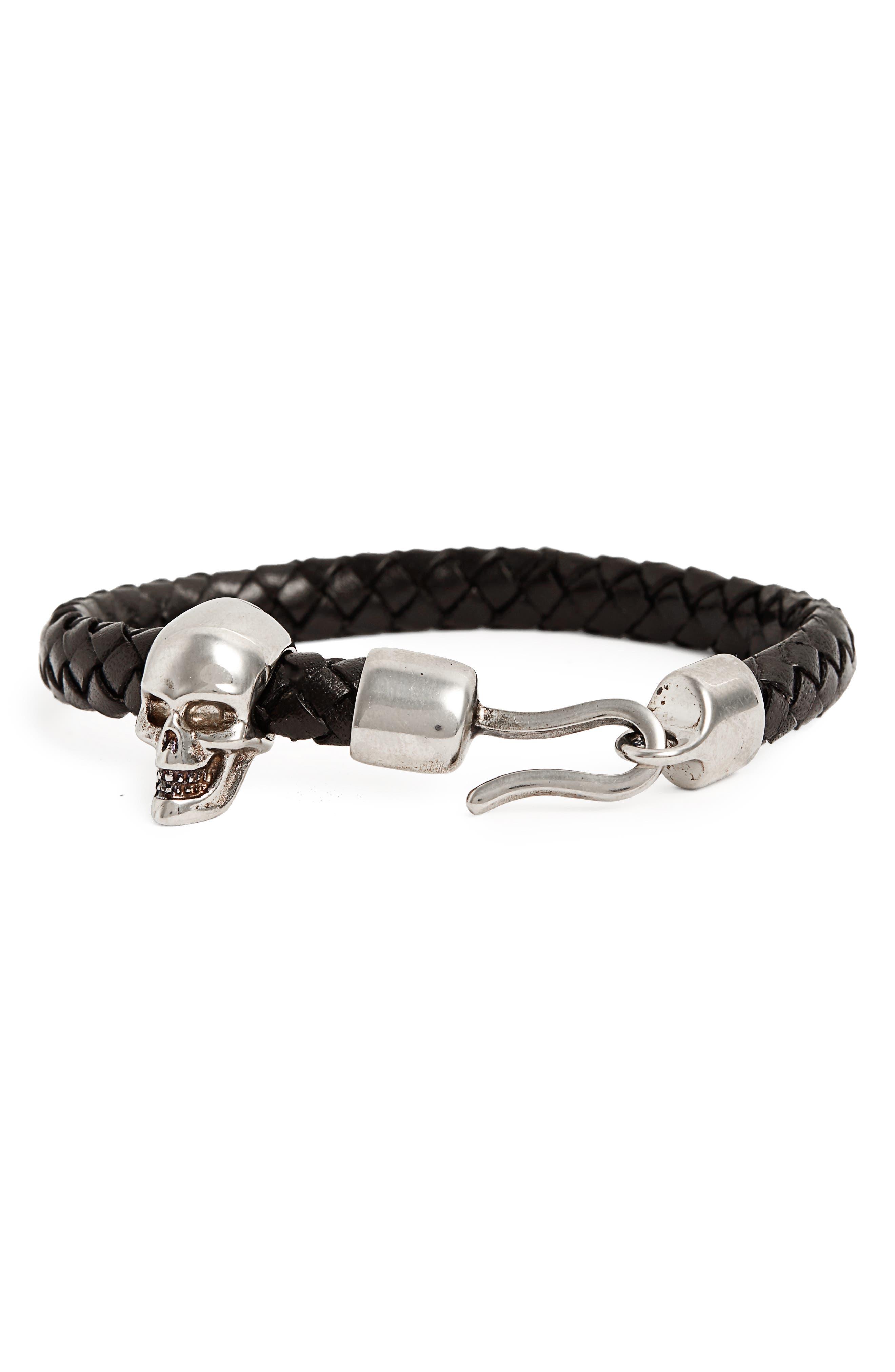 Brass Skull Leather Bracelet,                         Main,                         color, Black