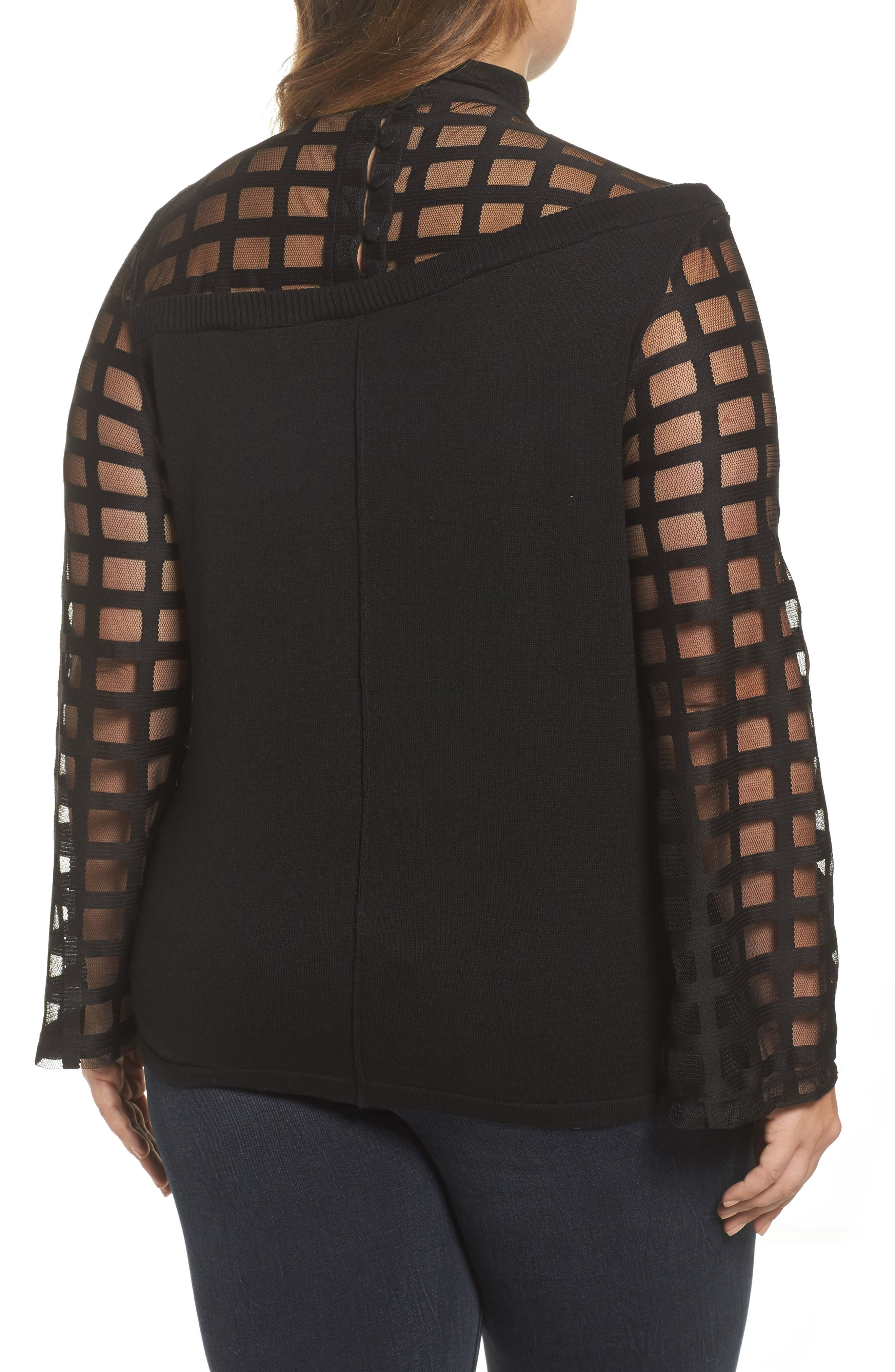 Alternate Image 2  - LOST INK Mesh Bell Sleeve Sweater (Plus Size)