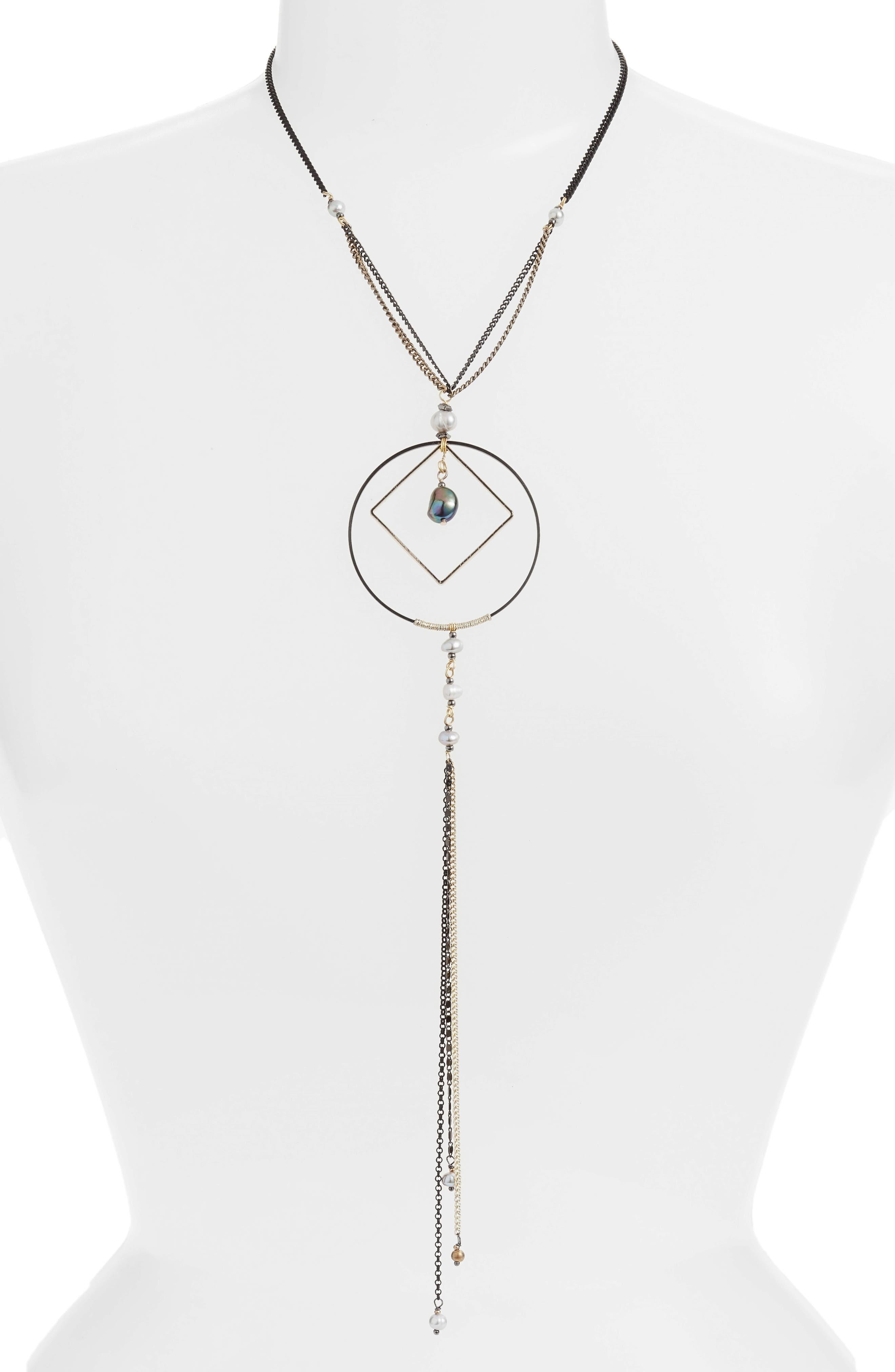Geometric Y-Necklace,                         Main,                         color, Grey