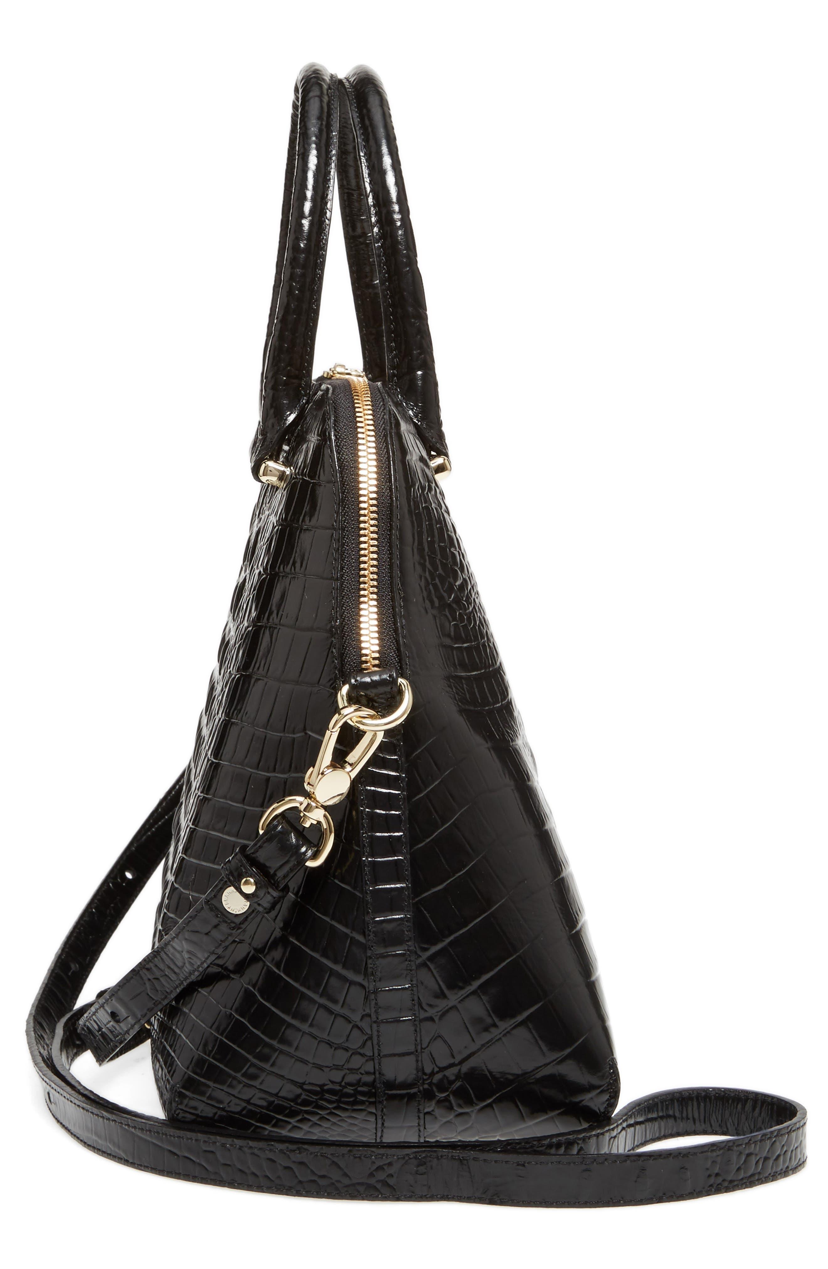Melbourne – Sydney Croc Embossed Leather Satchel,                             Alternate thumbnail 5, color,                             Black