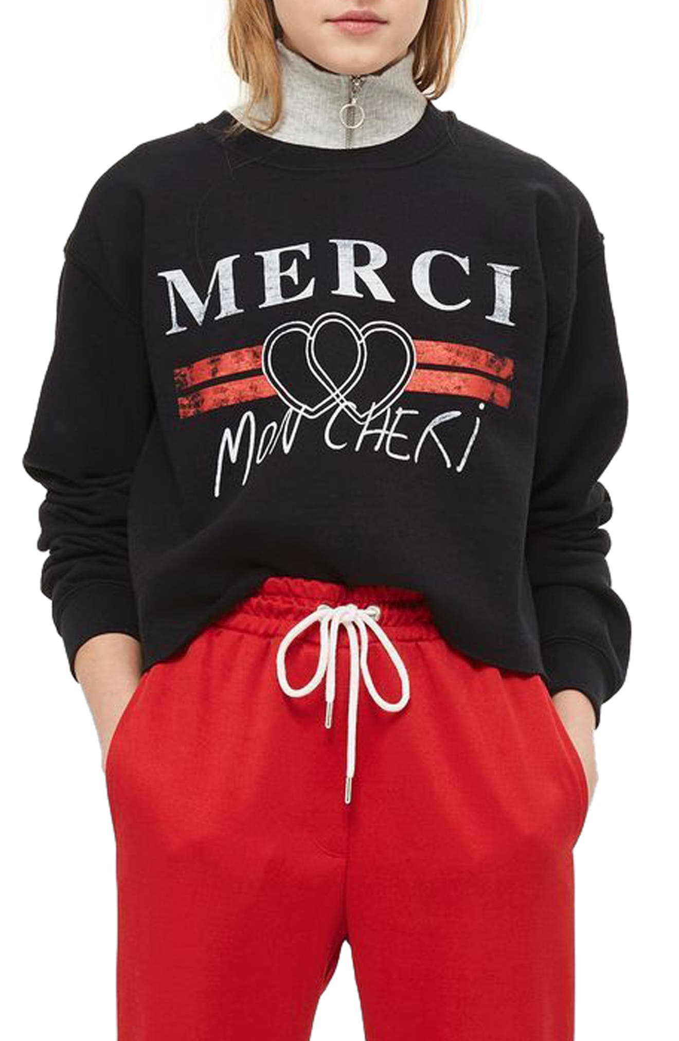 Merci Crop Sweatshirt,                             Main thumbnail 1, color,                             Black Multi