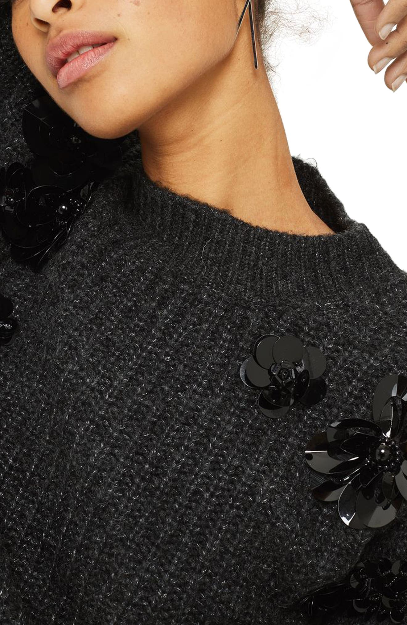 Cluster Embellished Sweater,                             Alternate thumbnail 3, color,                             Charcoal