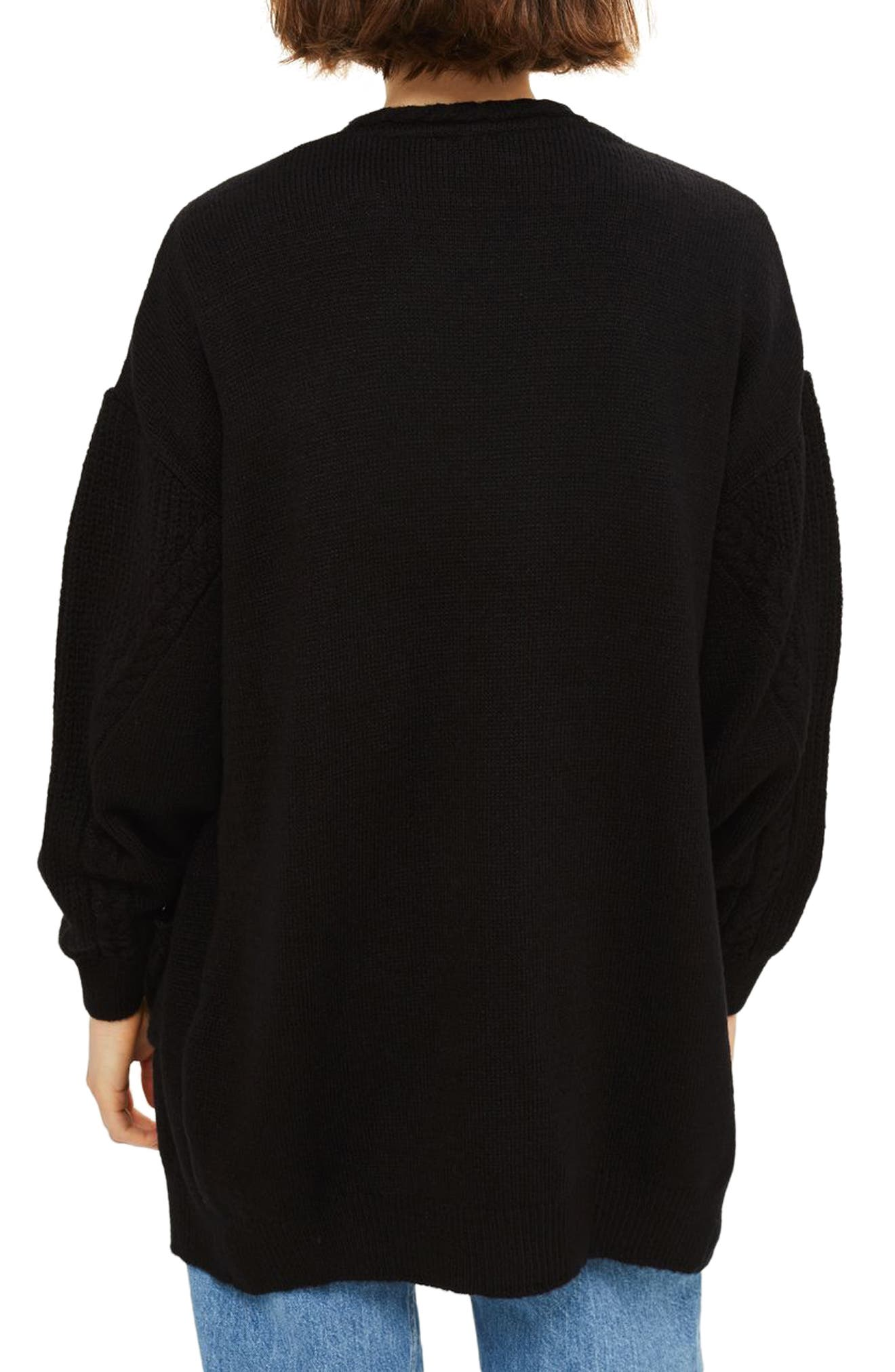 Alternate Image 2  - Topshop Cable Sleeve Cardigan
