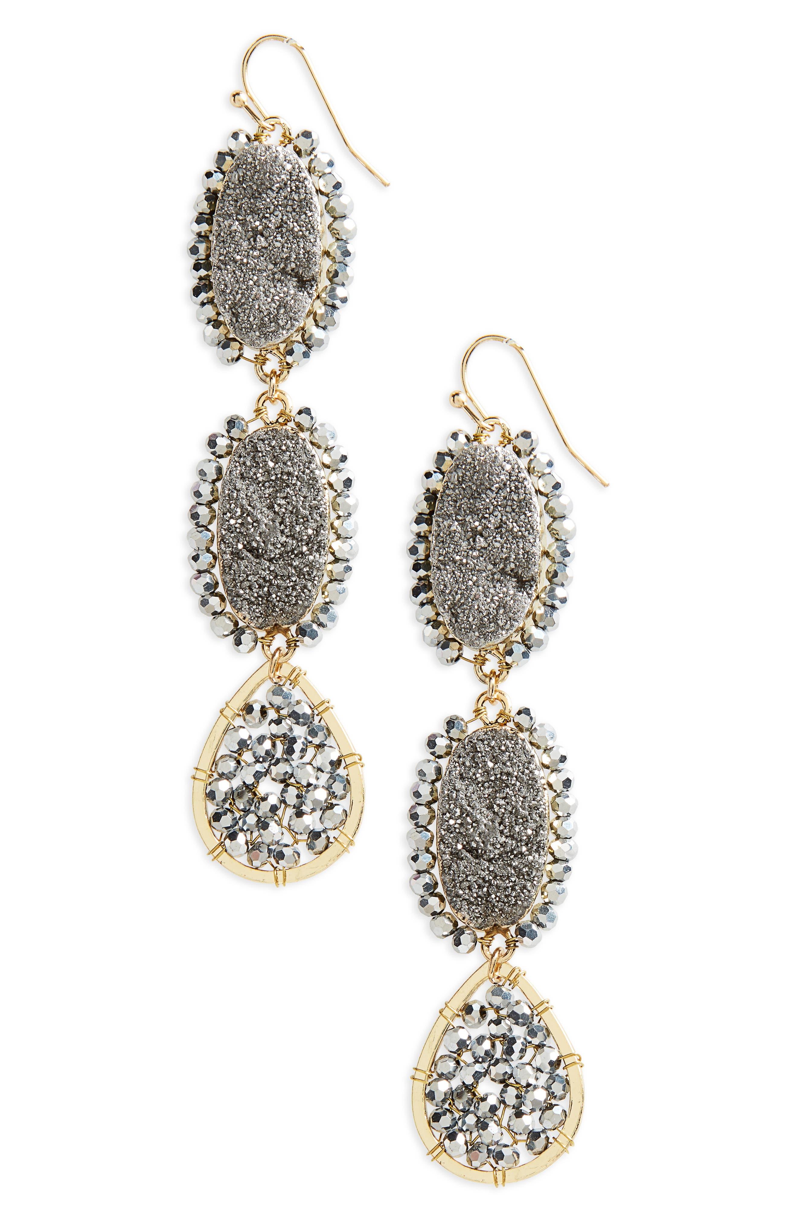 Beaded Linear Earrings,                         Main,                         color, Hematite