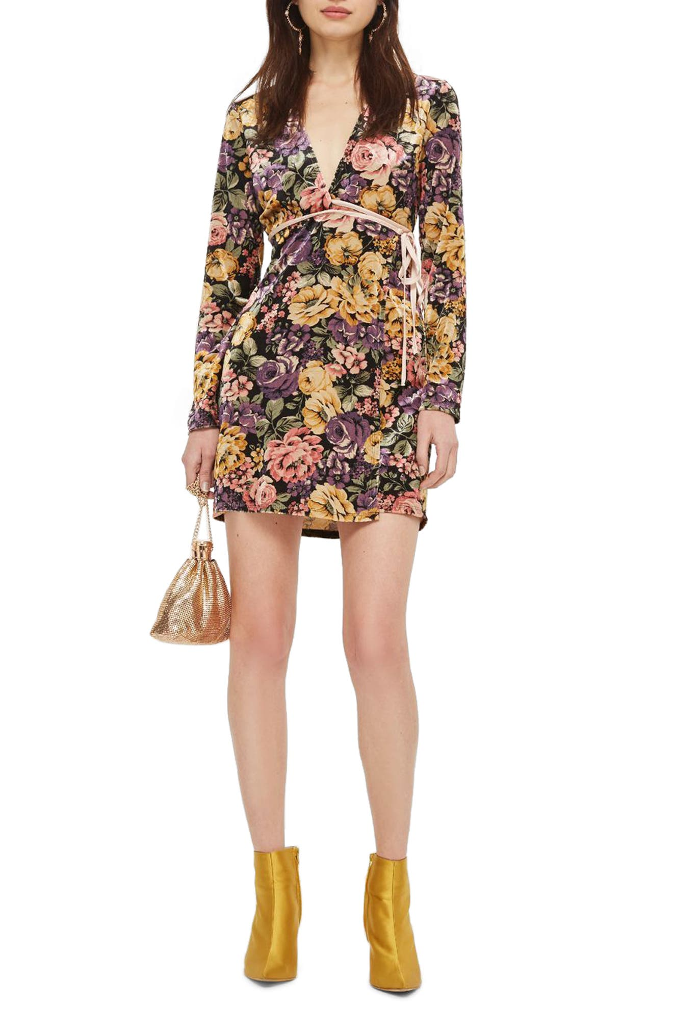 Plunge Floral Wrap Dress,                         Main,                         color, Yellow Multi