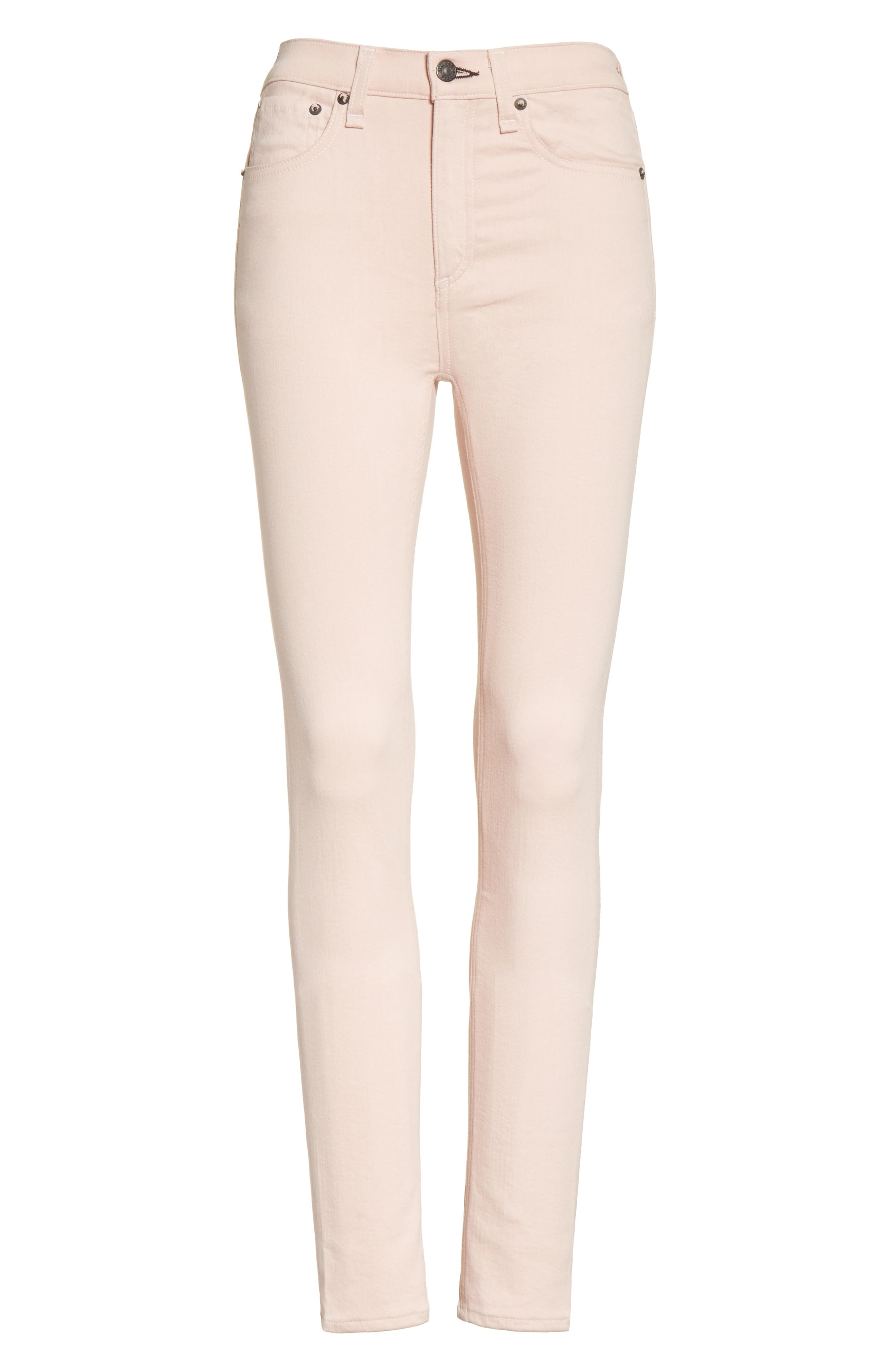 Alternate Image 6  - rag & bone/JEAN High Waist Ankle Skinny Jeans (Blush Twill)