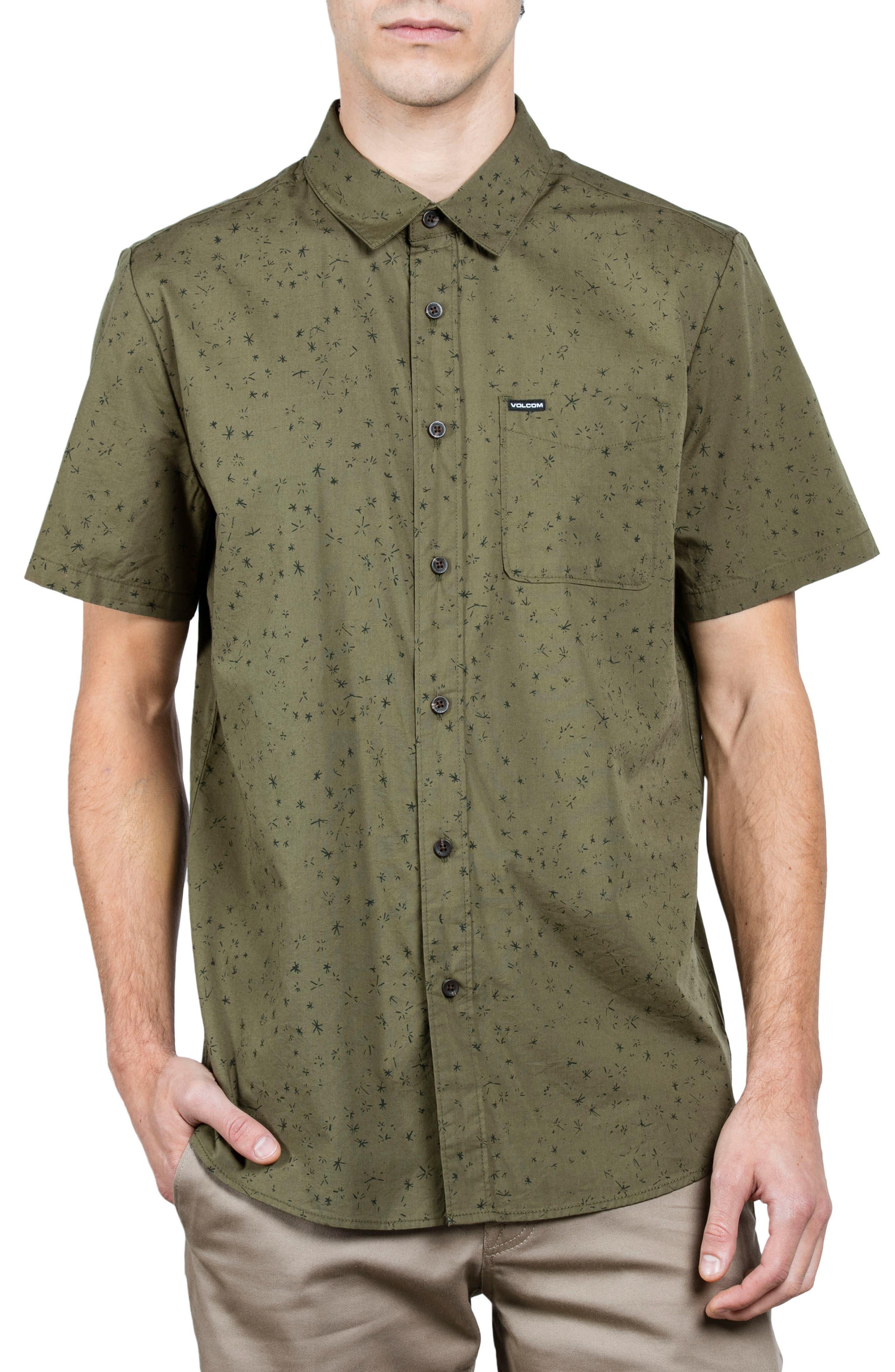 Smashed Stars Woven Shirt,                             Main thumbnail 1, color,                             Military
